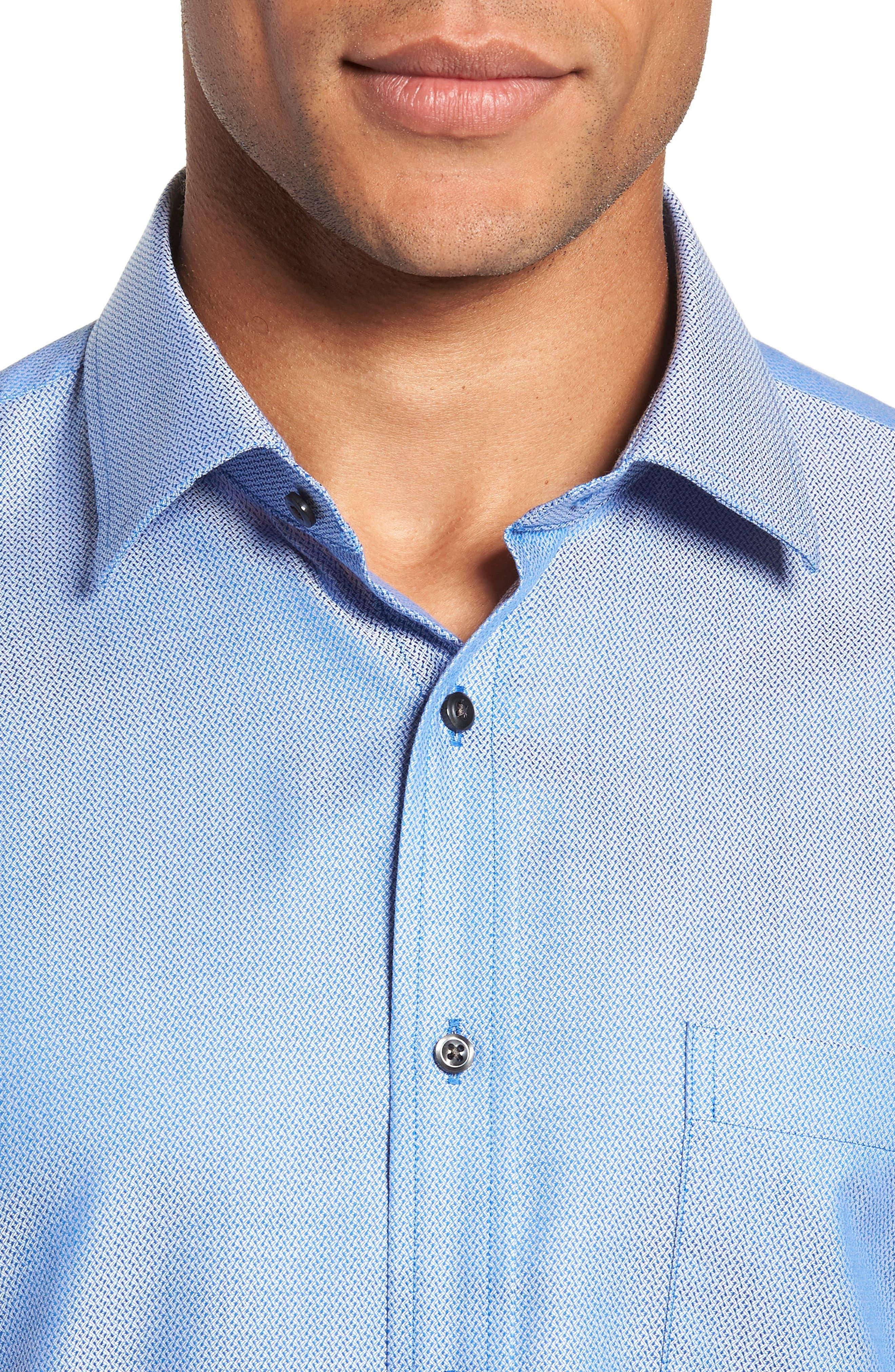 Trim Fit No-Iron Geometric Dress Shirt,                             Alternate thumbnail 2, color,                             BLUE CAMP