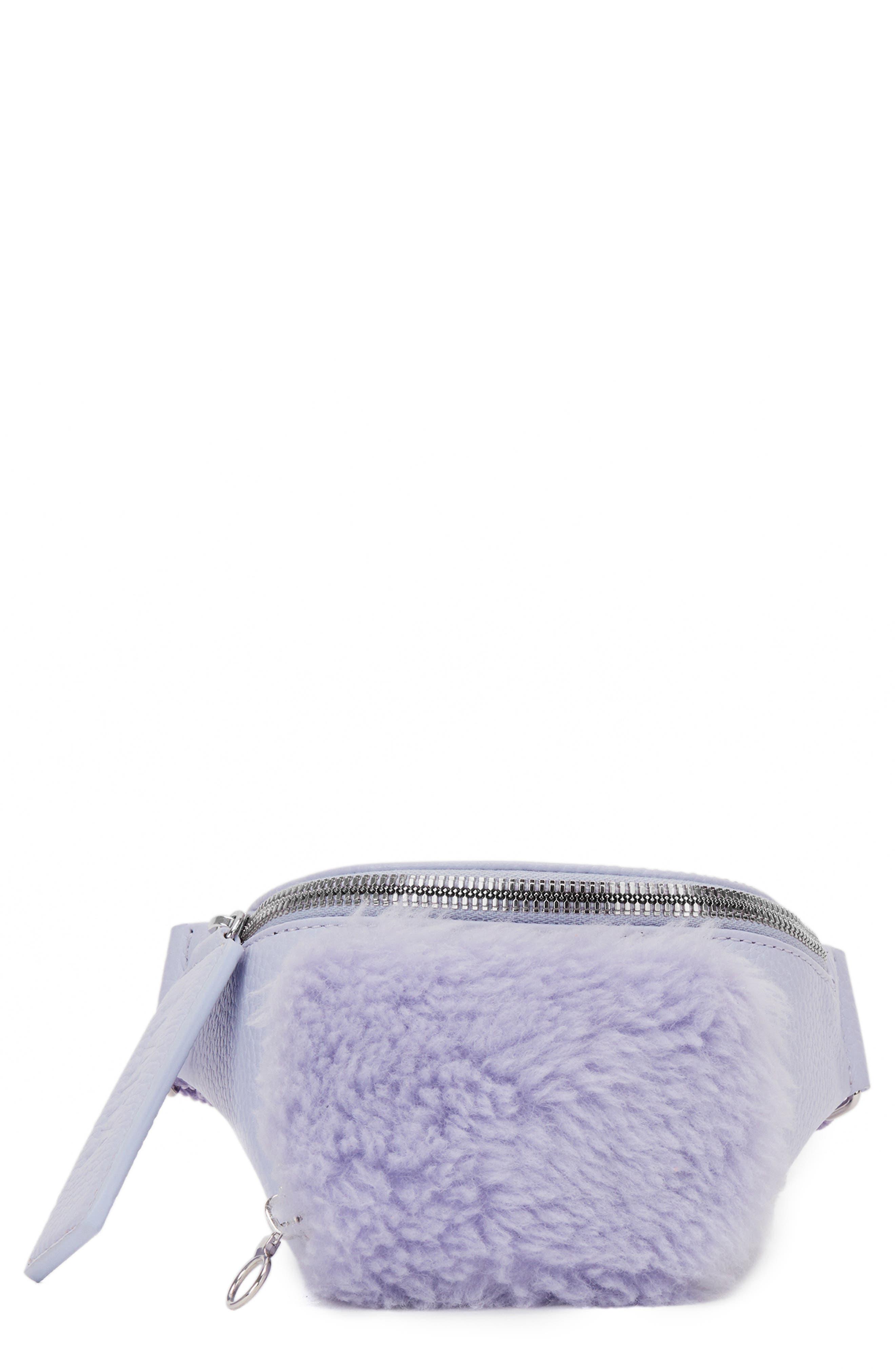 KARA Leather & Wool Bum Bag - Purple in Lavender