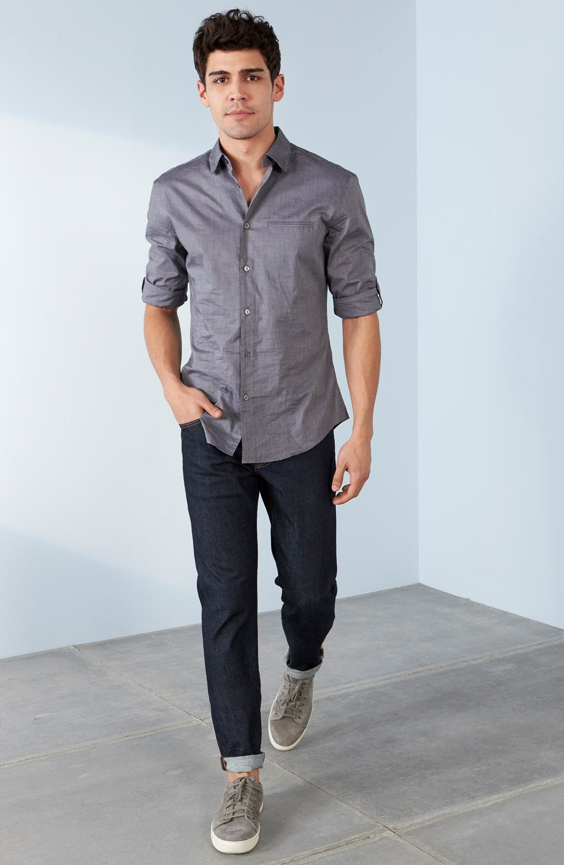 Slim Fit Cotton Woven Shirt,                             Alternate thumbnail 4, color,                             THUNDER