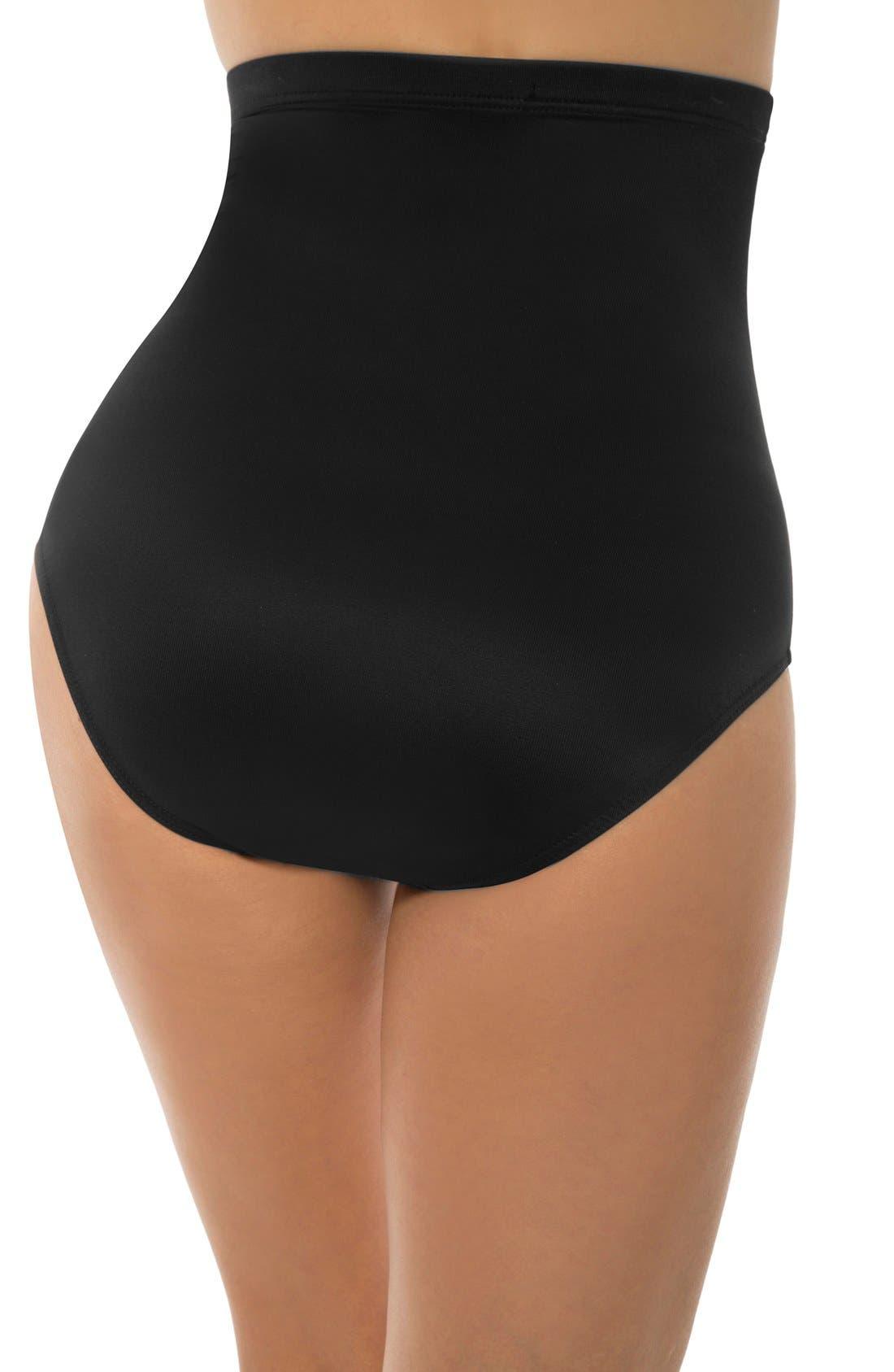 High Waist Control Bikini Bottoms,                             Alternate thumbnail 3, color,                             BLACK