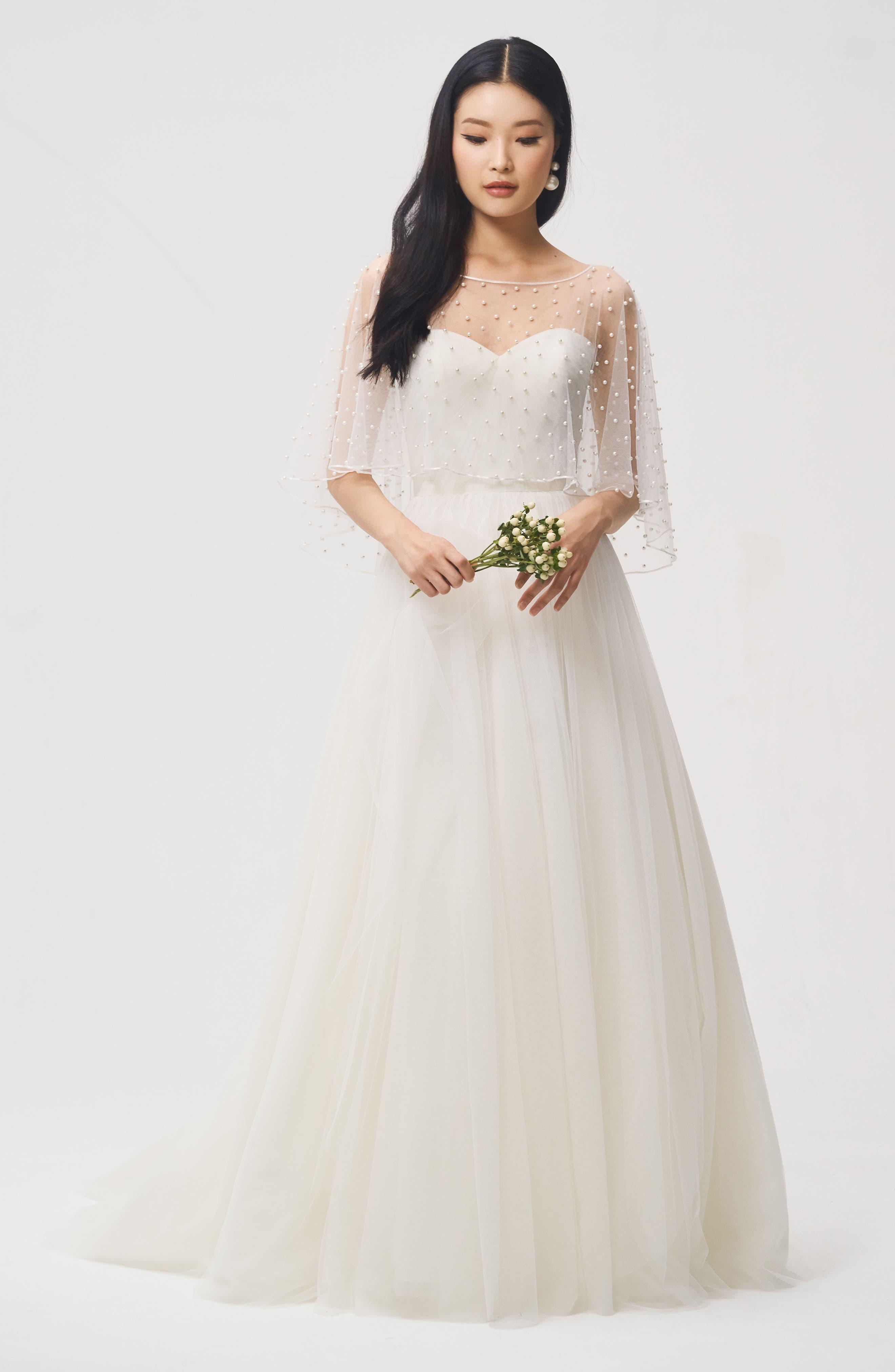Jenny Yoo Fiona Imitation Pearl Tulle Top,                             Alternate thumbnail 4, color,                             IVORY
