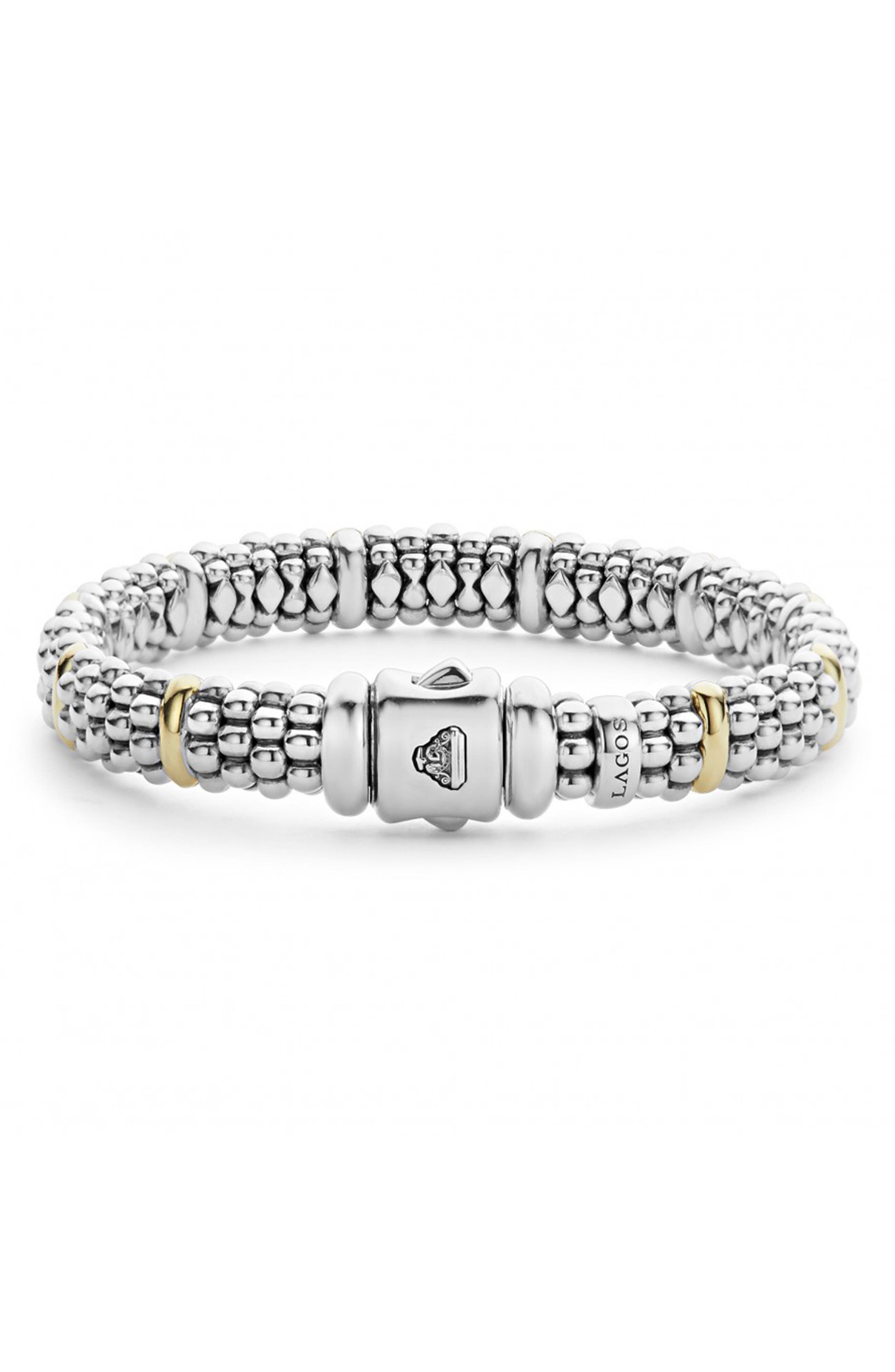 Oval Rope Caviar Bracelet,                             Alternate thumbnail 3, color,                             SILVER/ GOLD