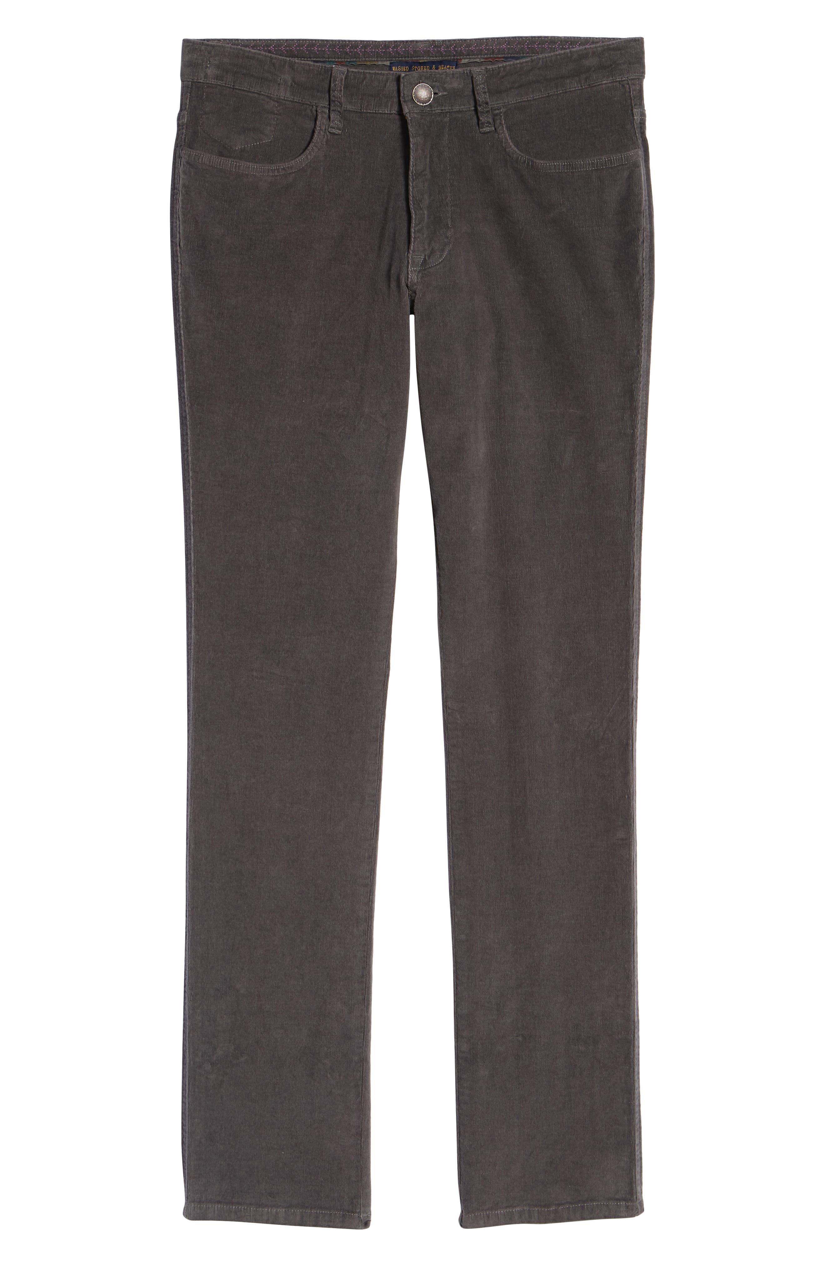 VINTAGE 1946,                             Modern Fit Stretch Corduroy Pants,                             Alternate thumbnail 6, color,                             CHARCOAL