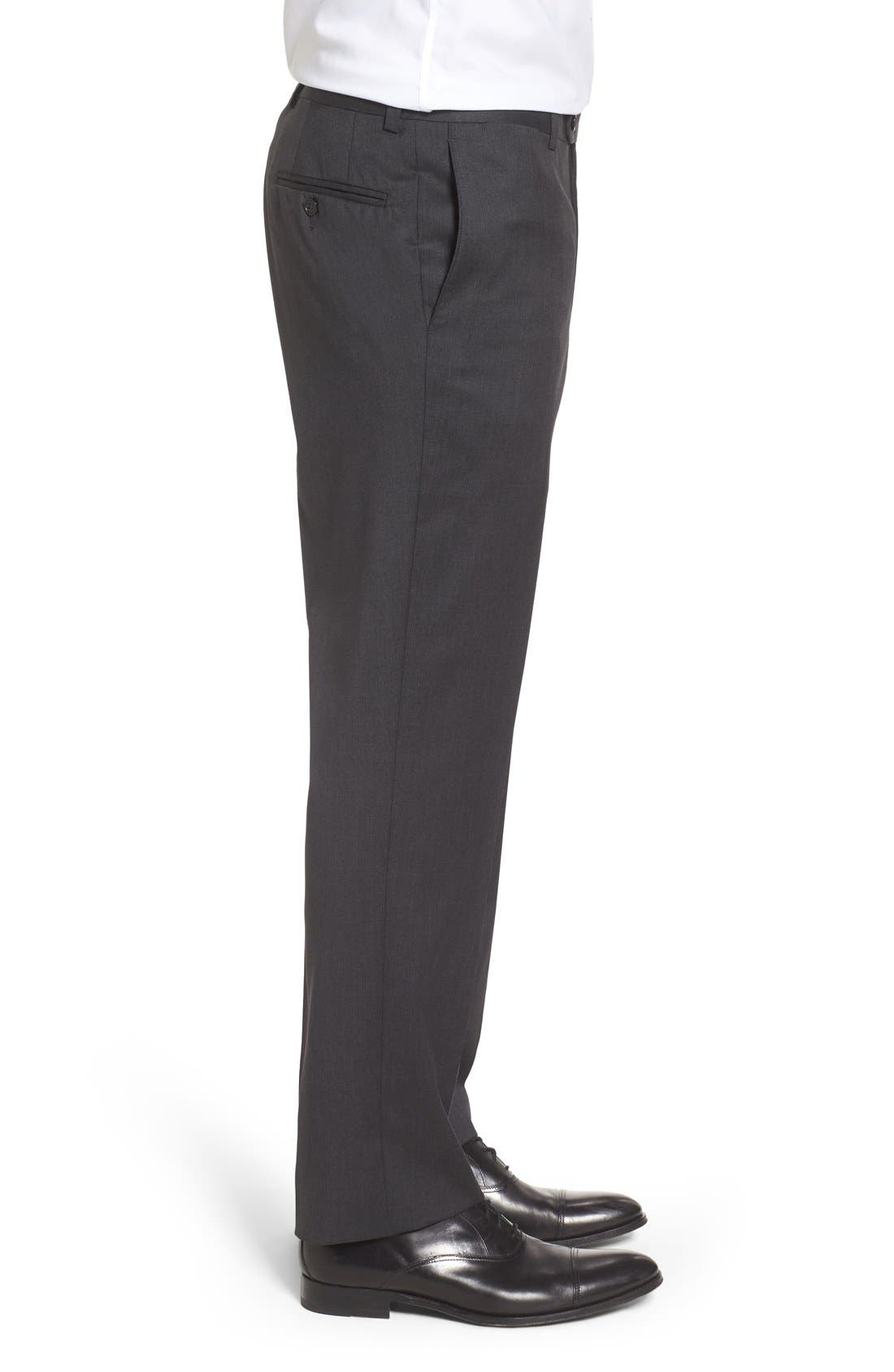 RIVIERA,                             Flat Front Solid Wool Trousers,                             Alternate thumbnail 4, color,                             010