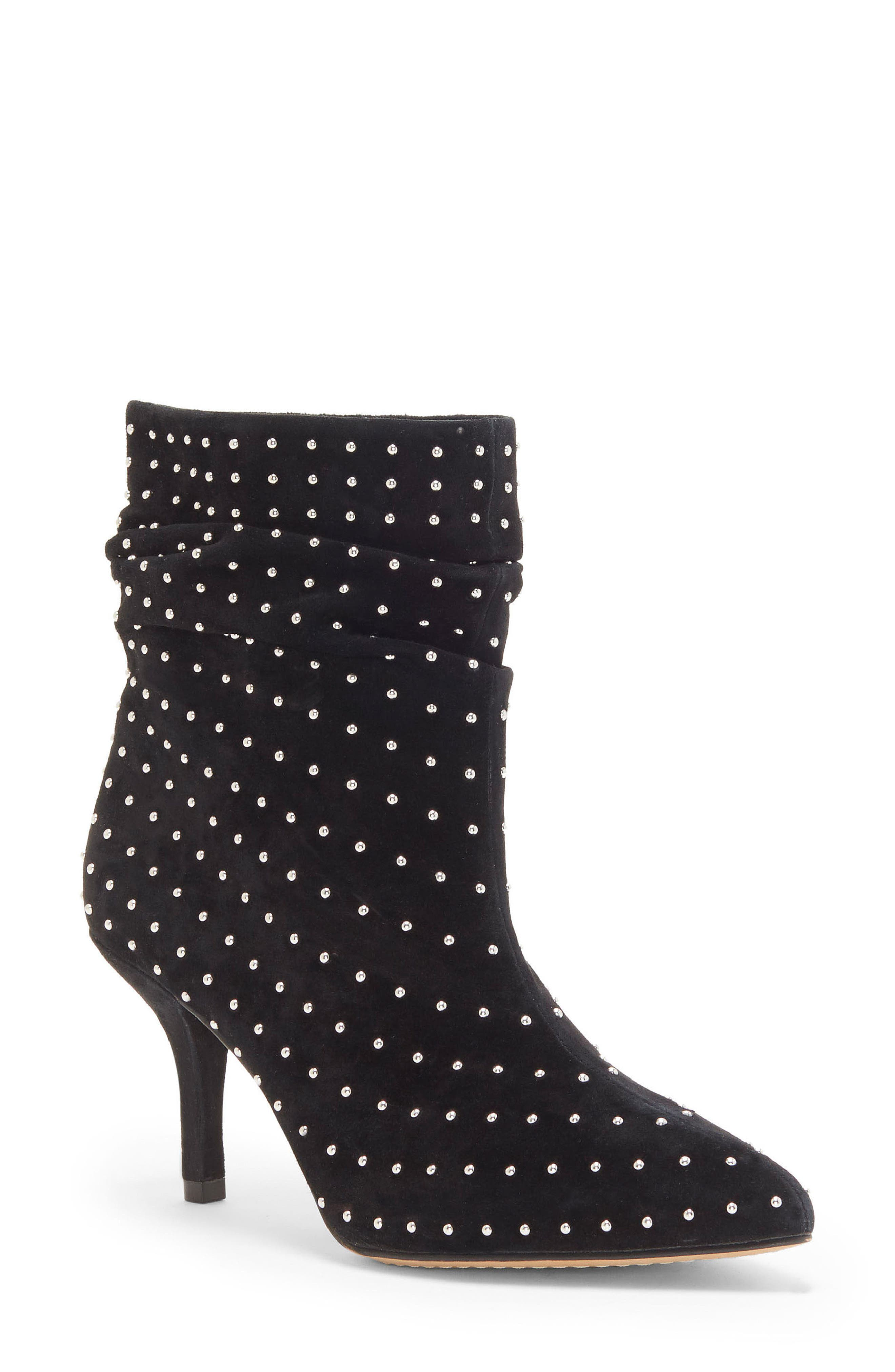 Abriannie Studded Slouchy Bootie,                             Main thumbnail 1, color,                             BLACK SUEDE