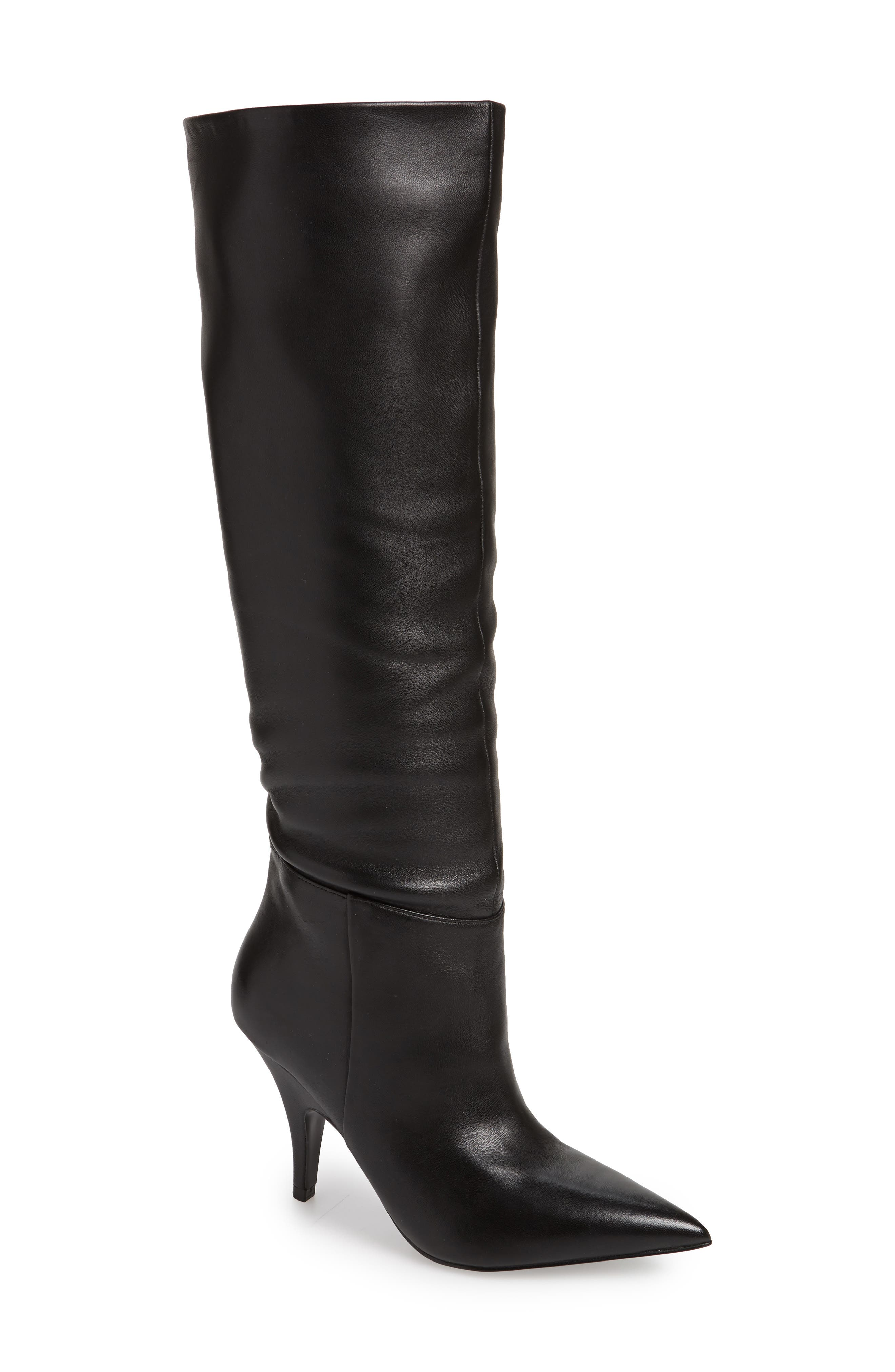 KENDALL + KYLIE Women'S Calla Leather Pointed Toe Heel-Heel Boots in Black Leather