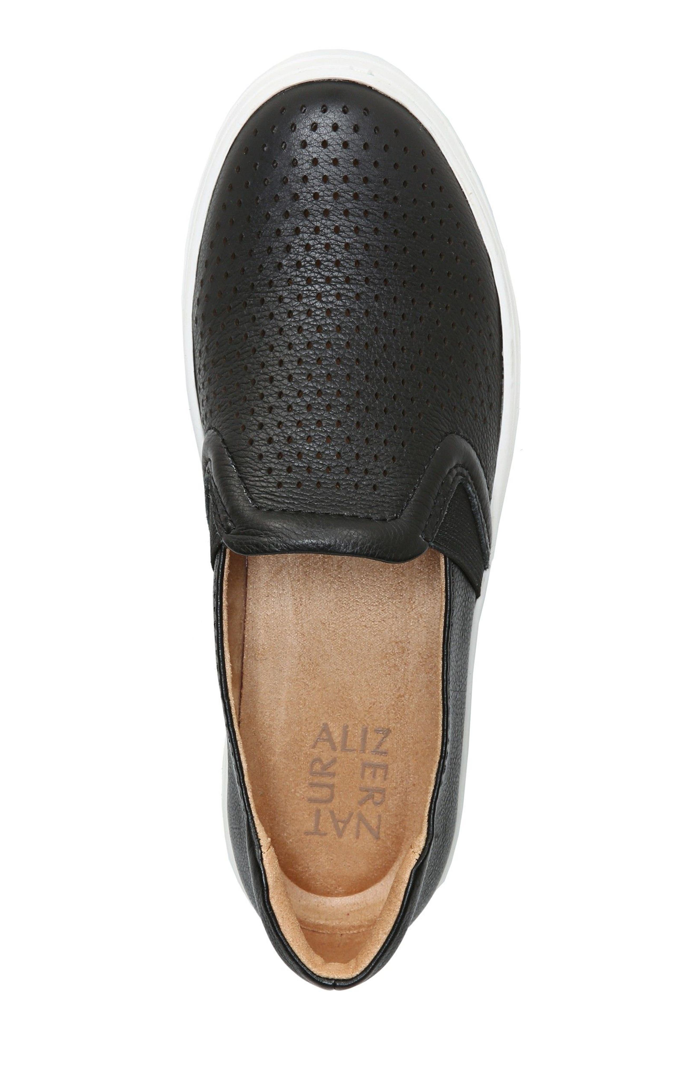 Carly Slip-On Sneaker,                             Alternate thumbnail 5, color,                             BLACK PEBBLED LEATHER
