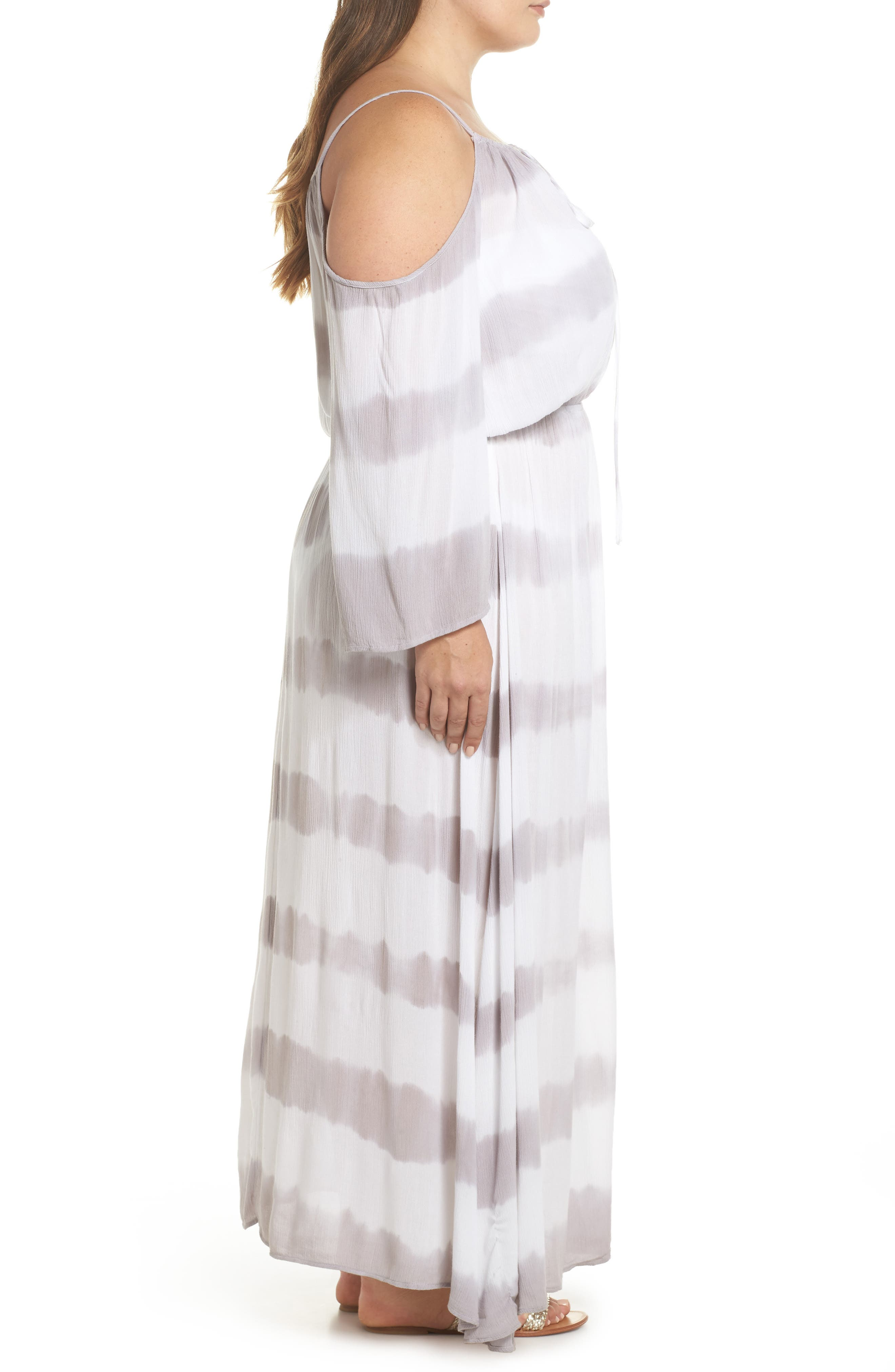 Cold Shoulder Cover-Up Maxi Dress,                             Alternate thumbnail 3, color,                             032