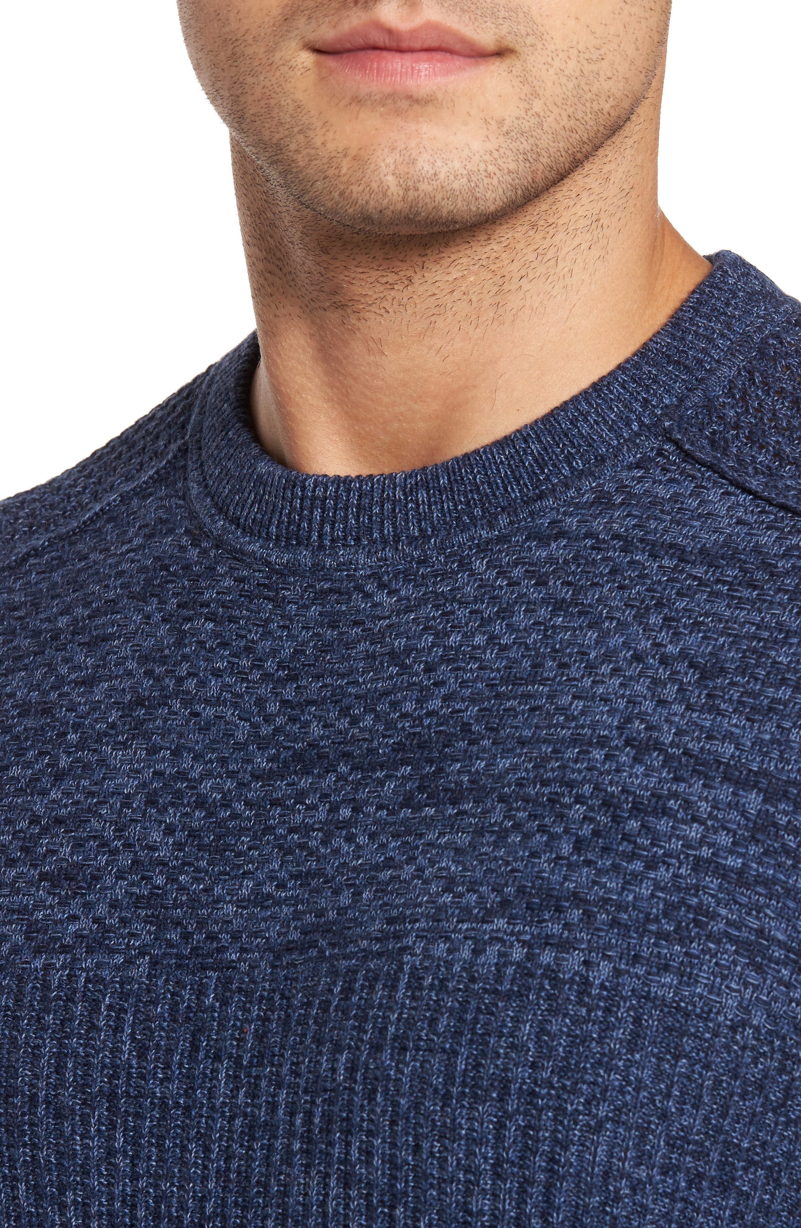 Medina Marl Cotton Sweater,                             Alternate thumbnail 4, color,                             001