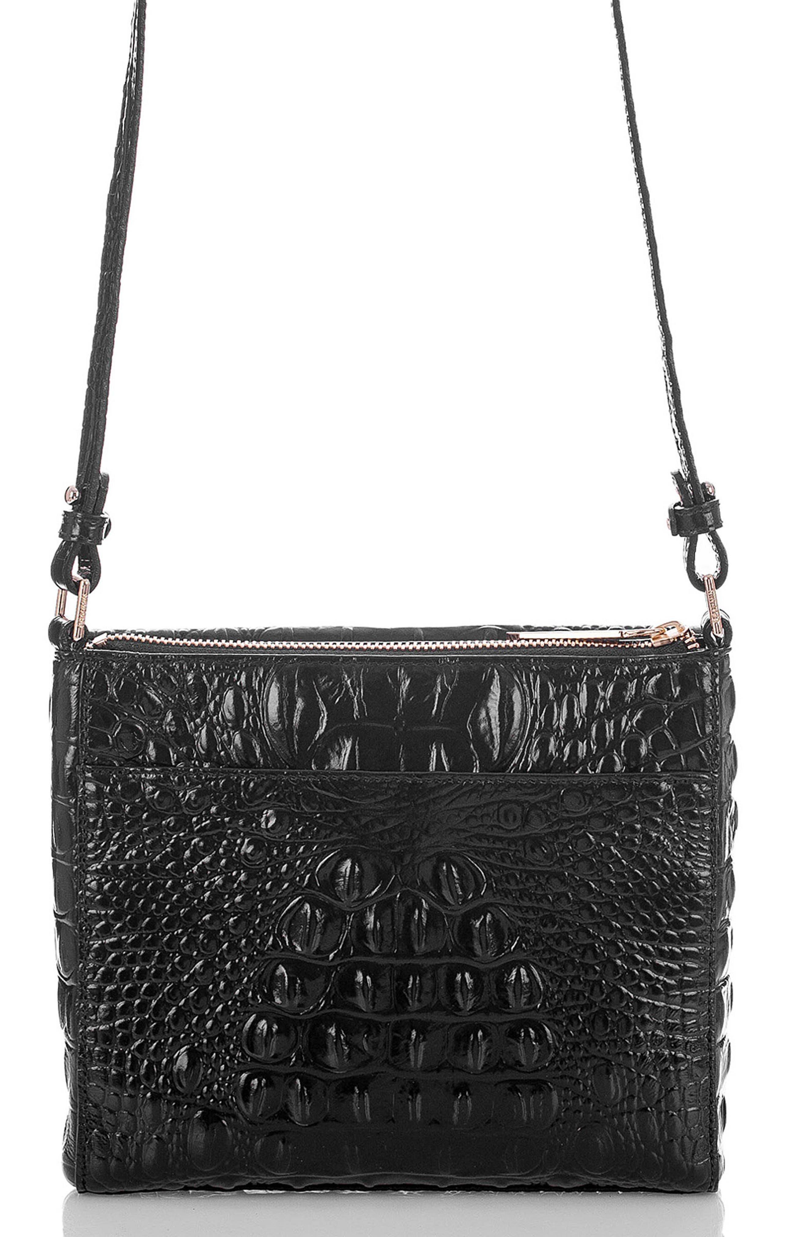 Melbourne Manhattan Croc Embossed Leather Crossbody Bag,                             Alternate thumbnail 3, color,                             BLACK