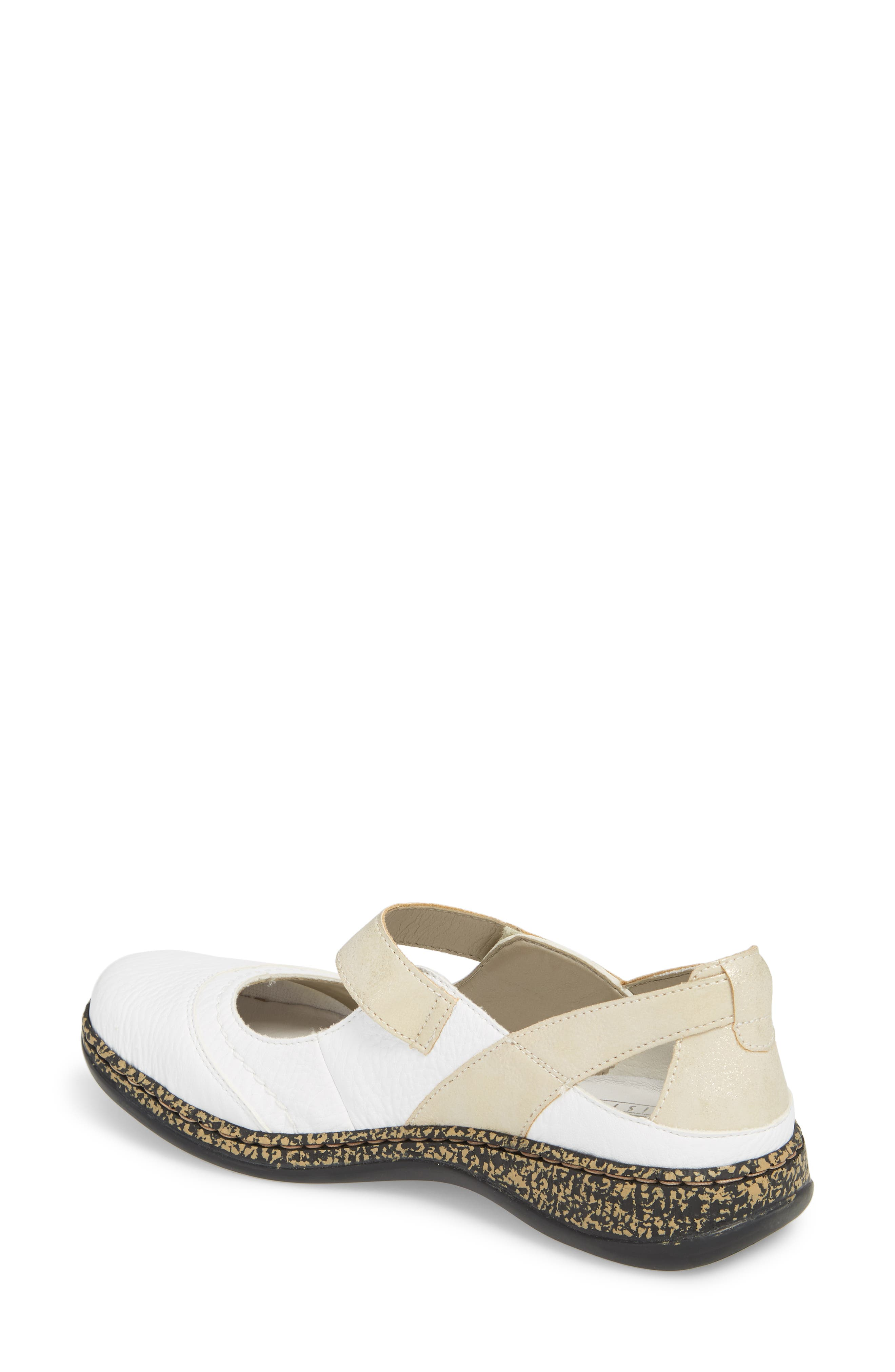 Daisy 78 Mary Jane Flat,                             Alternate thumbnail 2, color,                             WHITE/ GOLD SYNTHETIC LEATHER