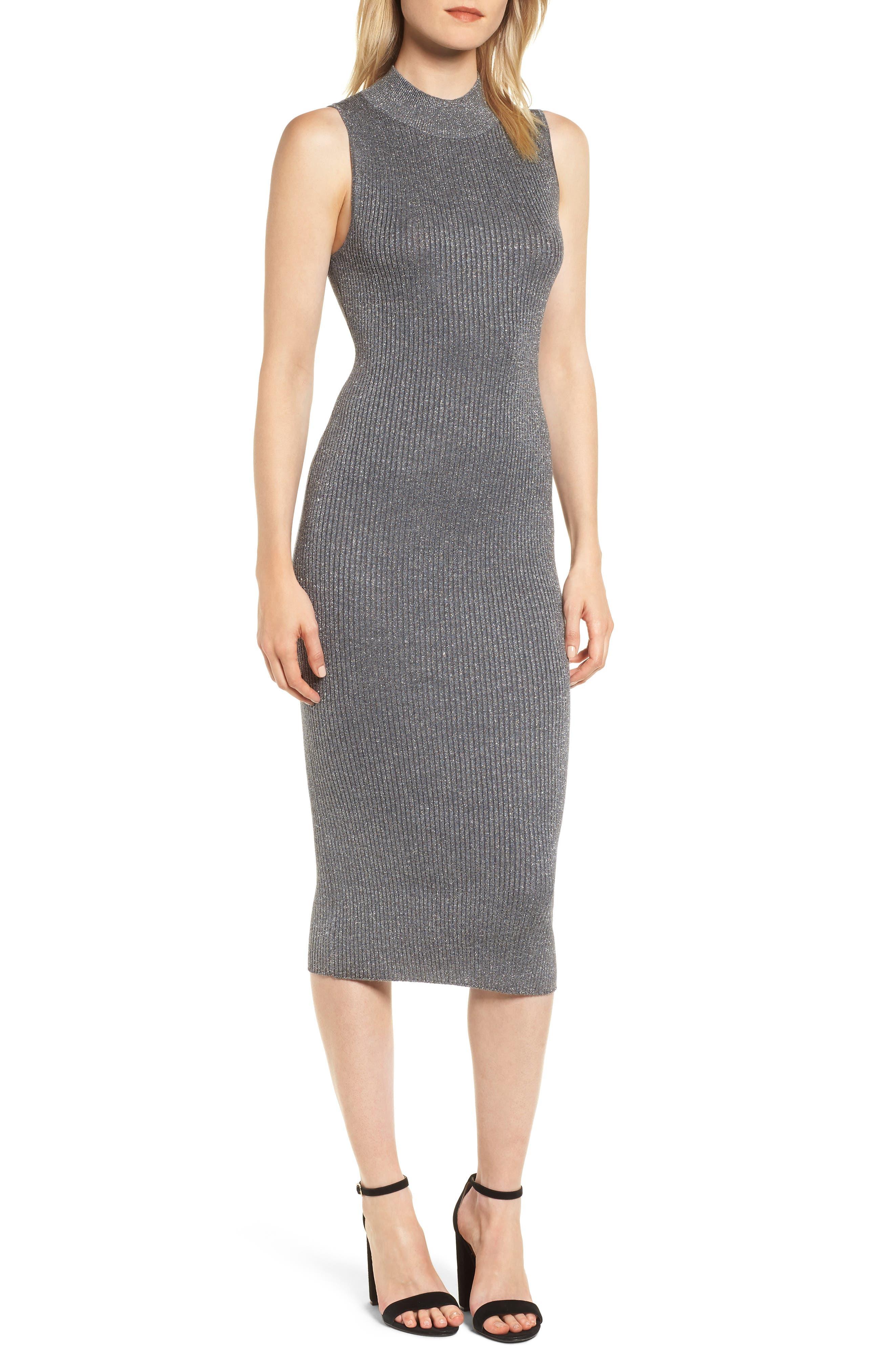 Chelsea28 Metallic Ribbed Body-Con Dress, Grey