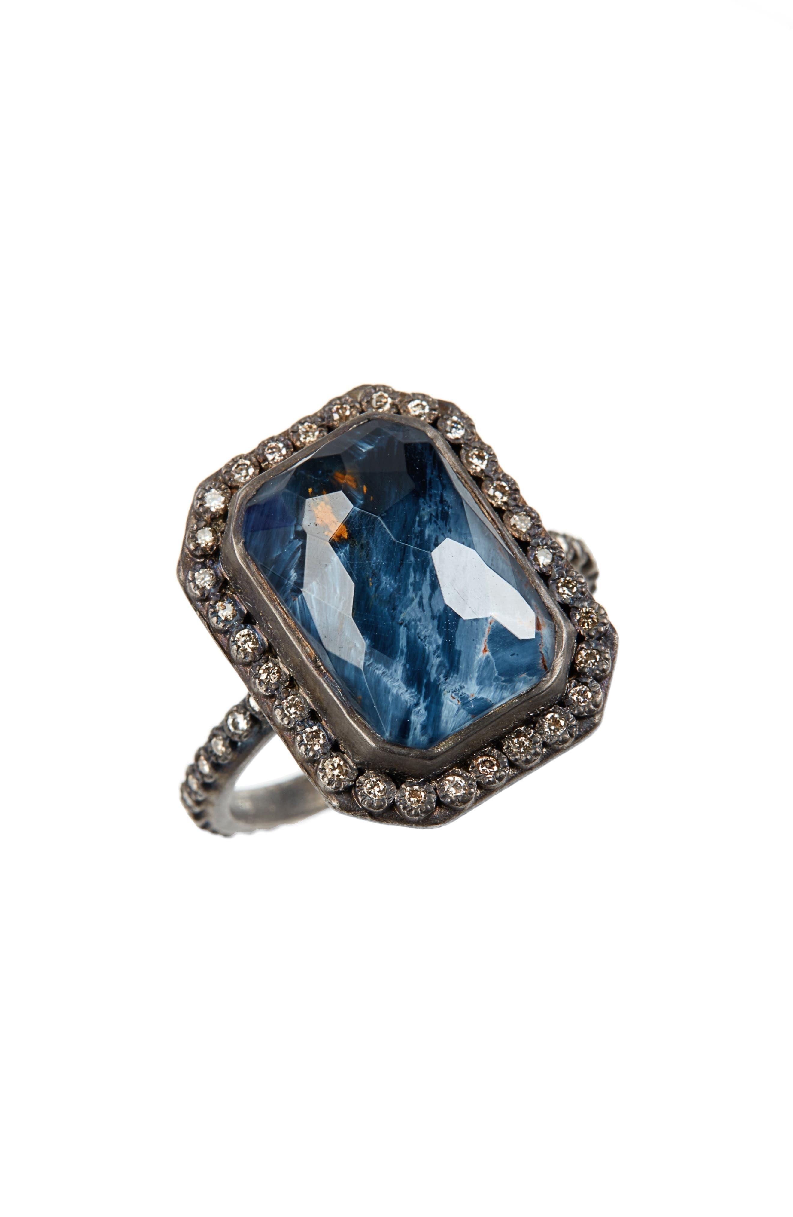 Old World Midnight Emerald-Cut Quartz & Diamond Ring,                         Main,                         color, SILVER
