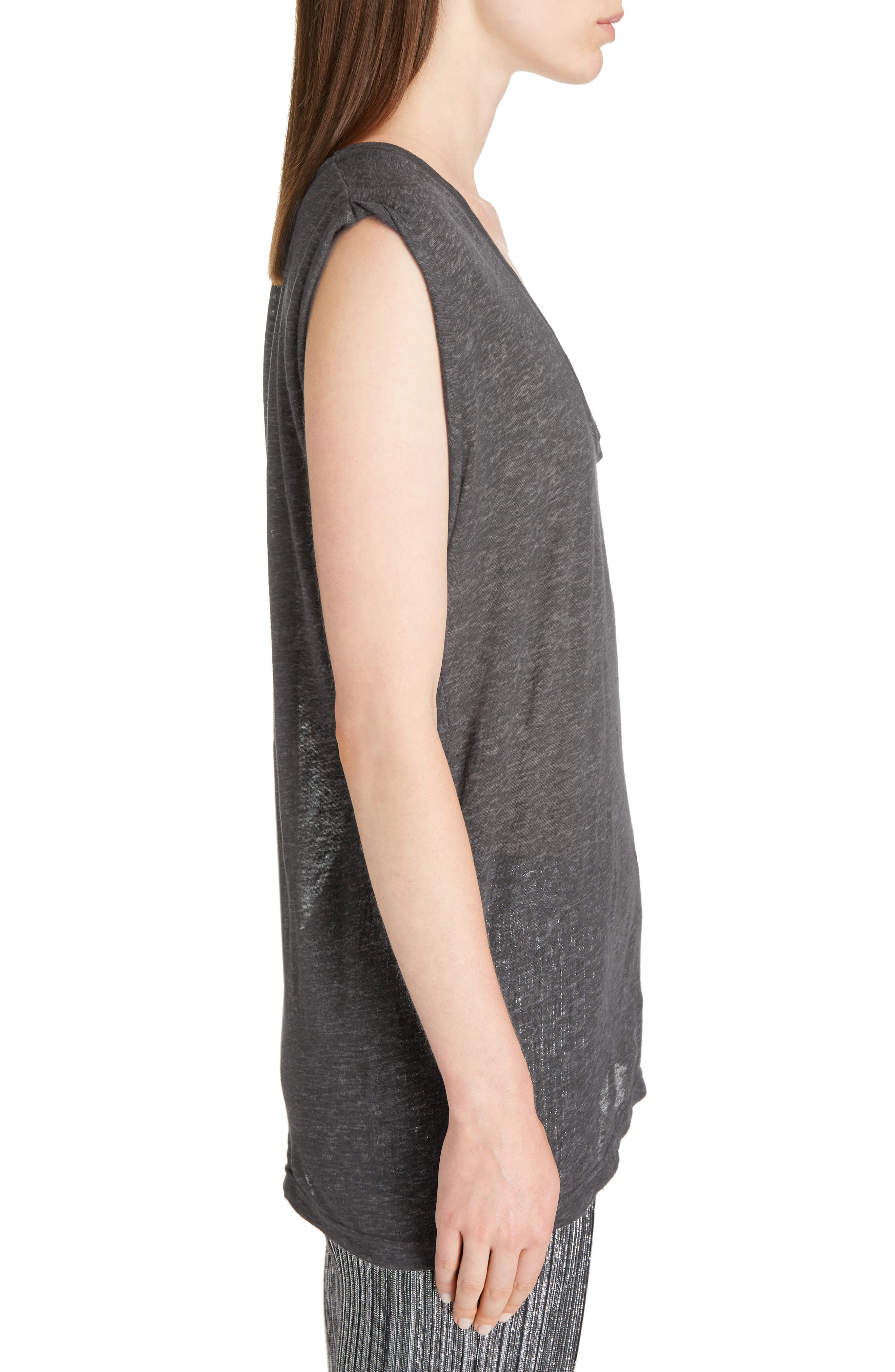 Draped Linen Tee,                             Alternate thumbnail 3, color,                             020