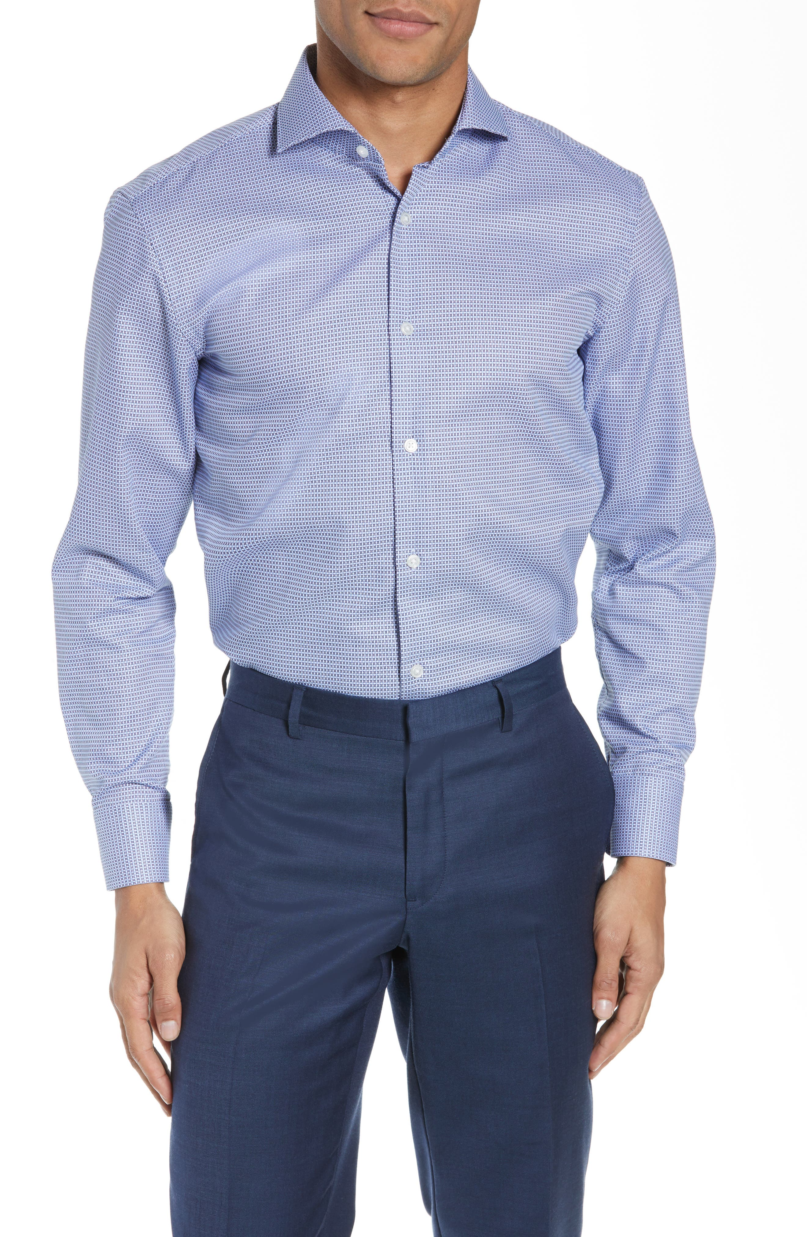 Boss Dresses MARK TRIM FIT GEOMETRIC DRESS SHIRT