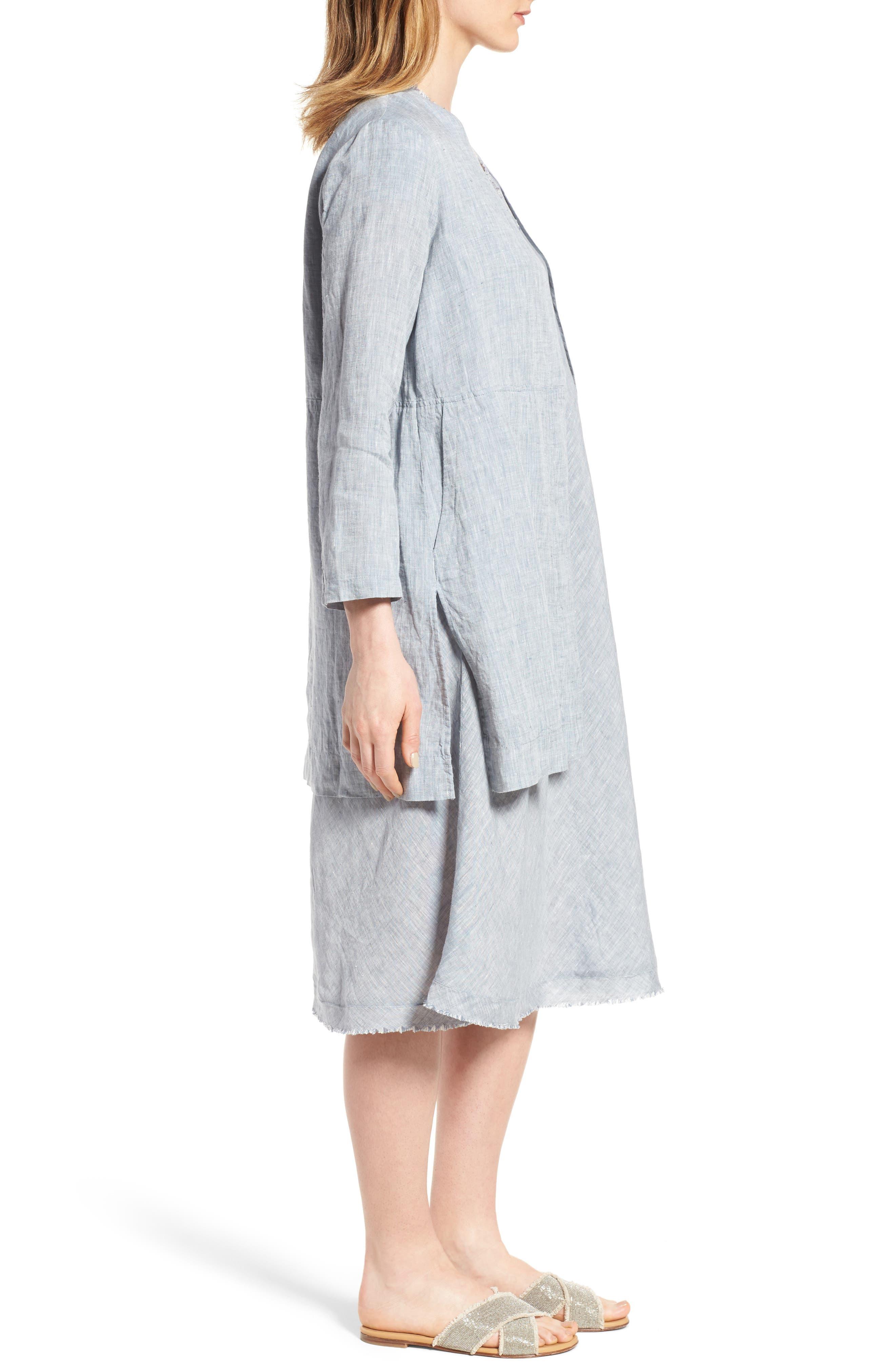 Long Organic Linen Jacket,                             Alternate thumbnail 3, color,                             416
