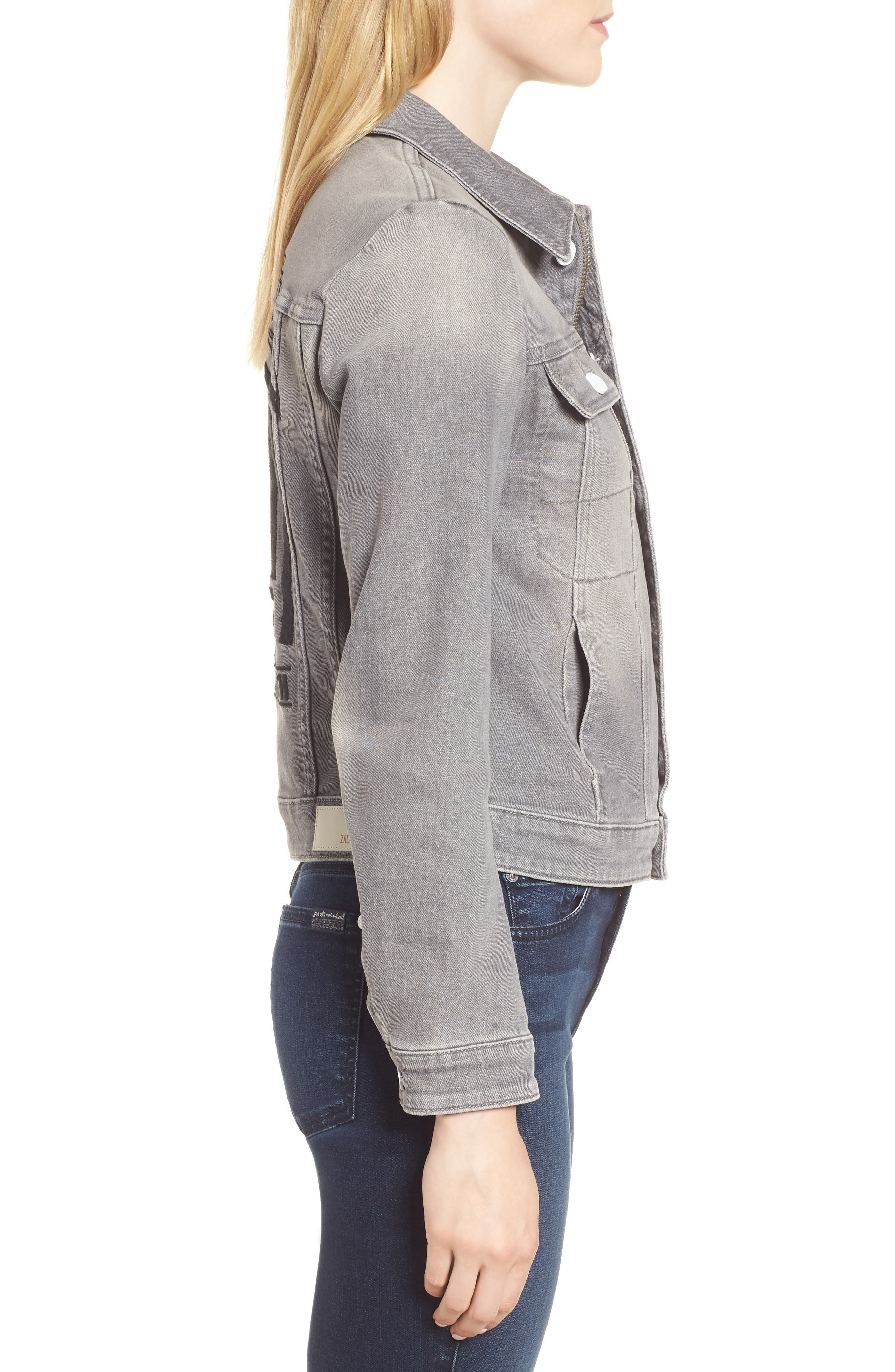 Kioky Gris Brode Denim Jacket,                             Alternate thumbnail 3, color,                             076