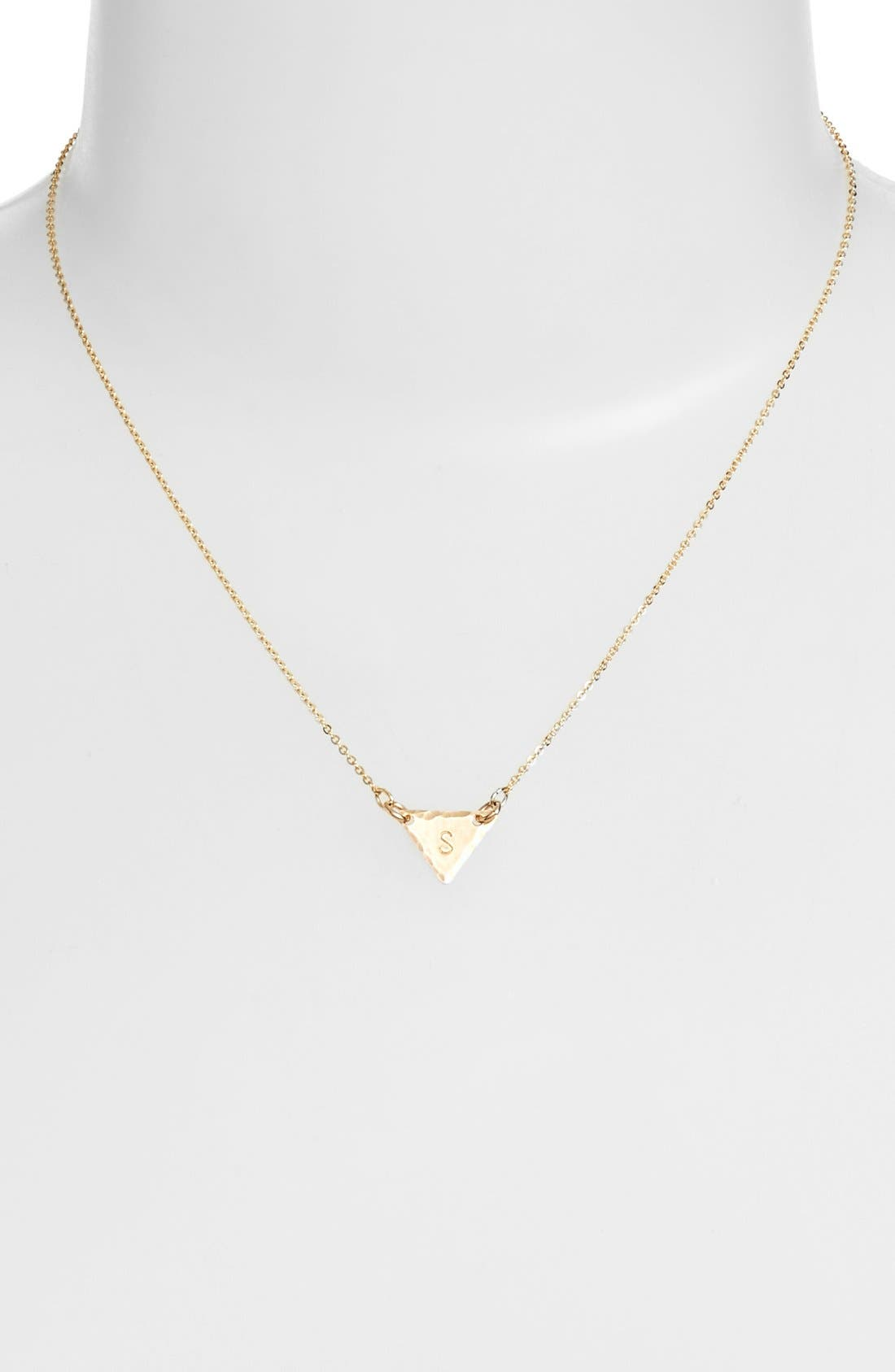 14k-Gold Fill Initial Triangle Necklace,                             Alternate thumbnail 45, color,