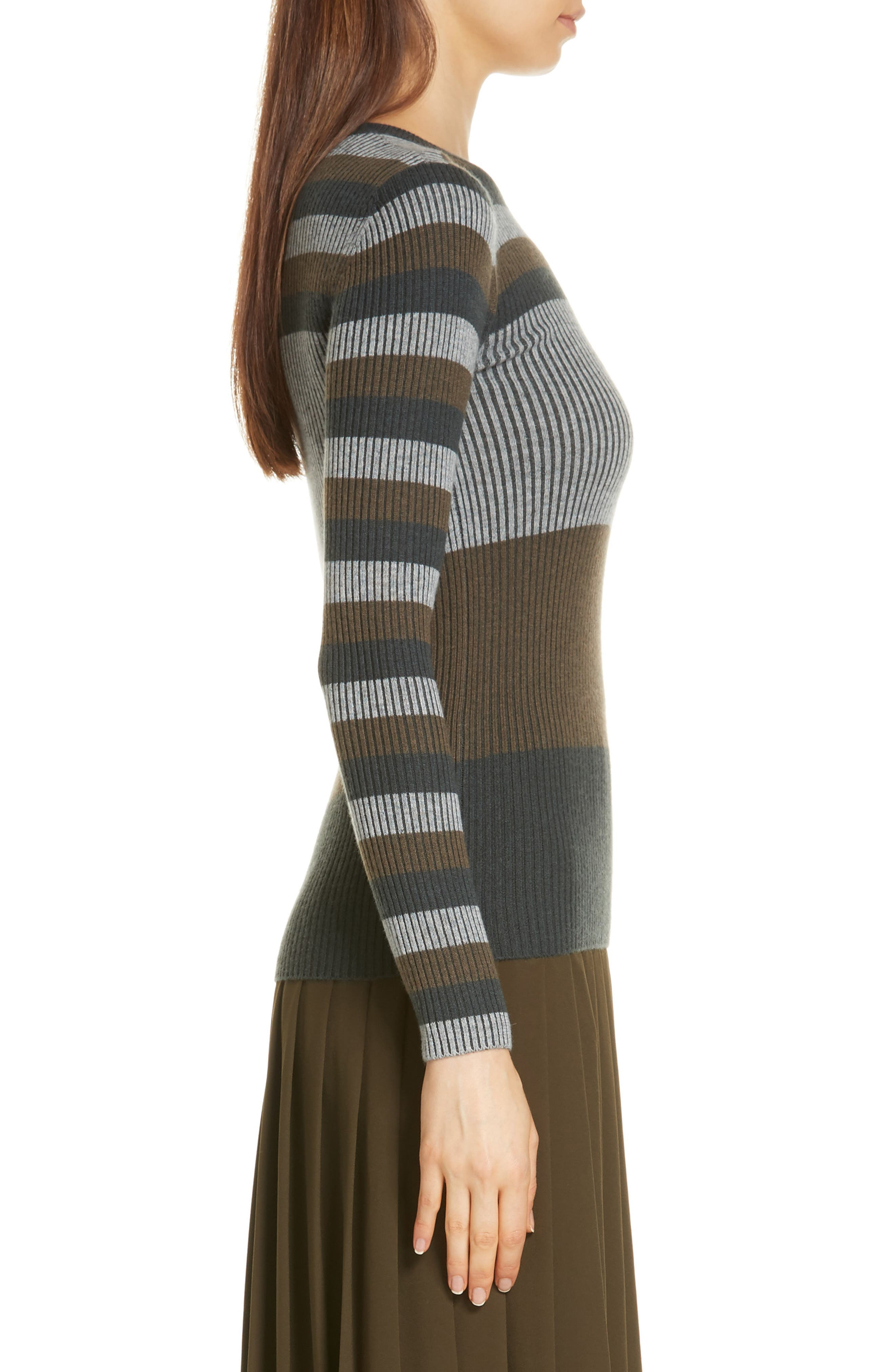 NORDSTROM SIGNATURE,                             Stripe Cashmere Sweater,                             Alternate thumbnail 3, color,                             315