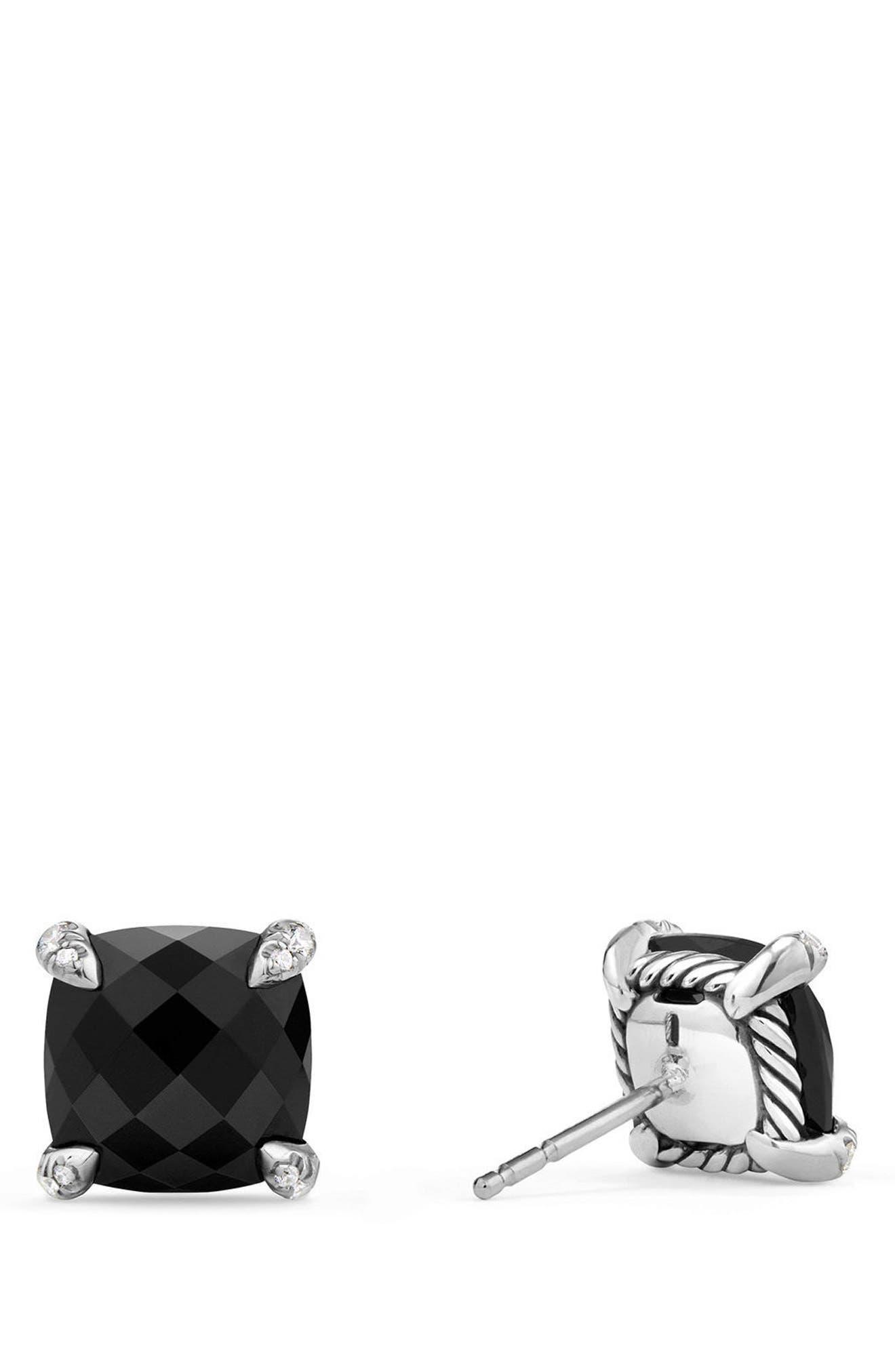 Châtelaine Earrings with Diamonds,                             Main thumbnail 1, color,                             BLACK ONYX?