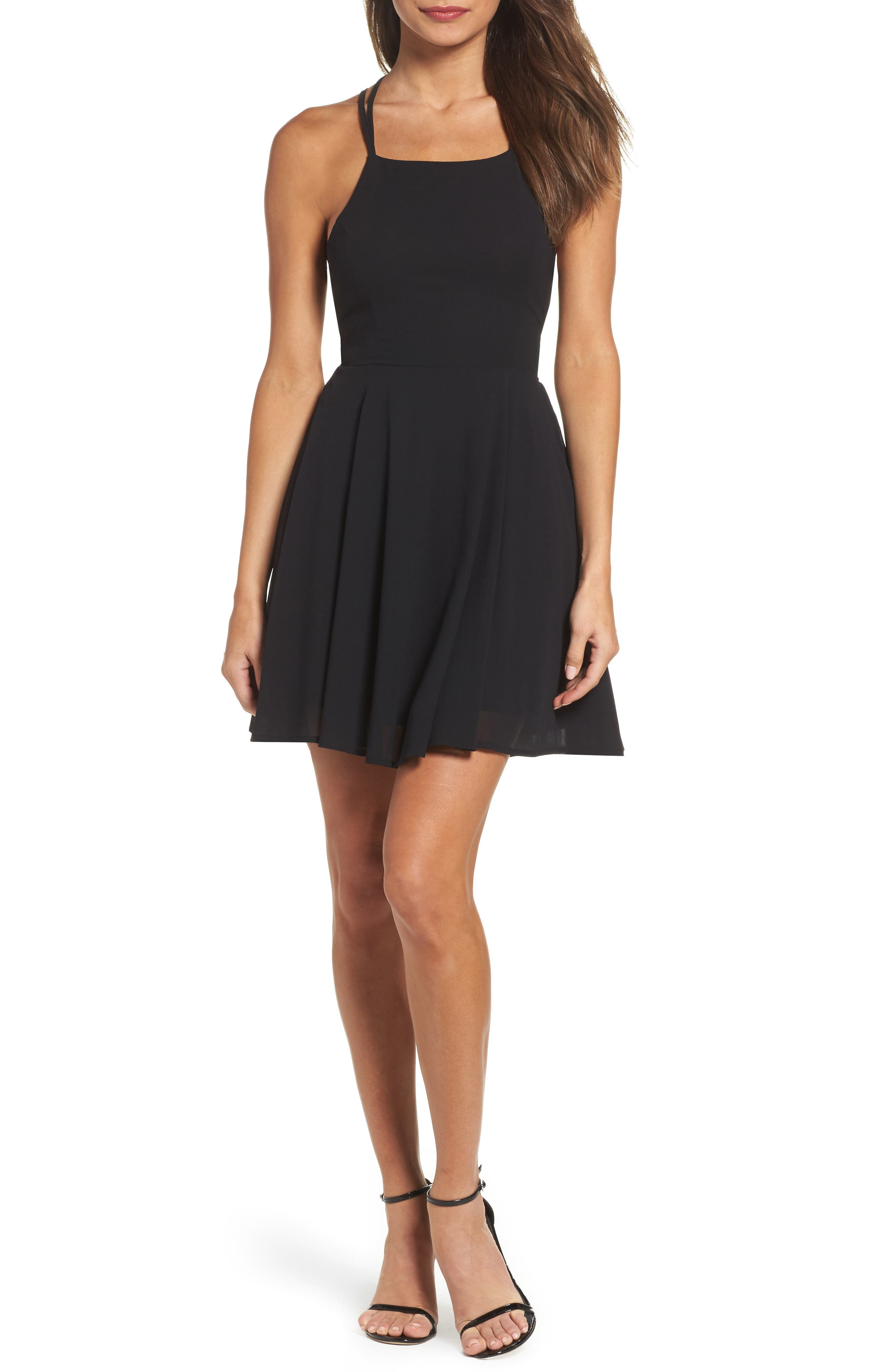 LULUS,                             Good Deeds Lace-Up Skater Dress,                             Main thumbnail 1, color,                             BLACK