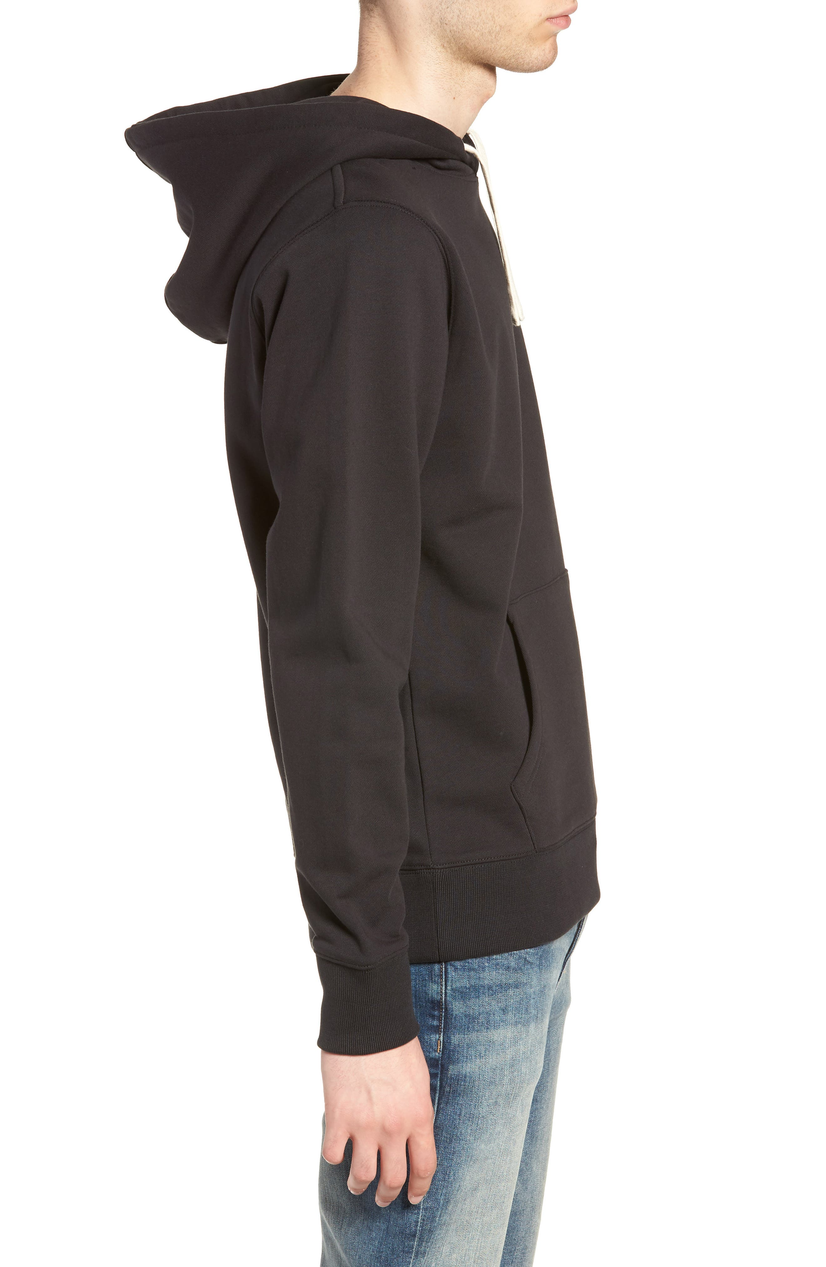 Ditch Embroidered Chest Slash Hooded Sweatshirt,                             Alternate thumbnail 3, color,                             BLACK