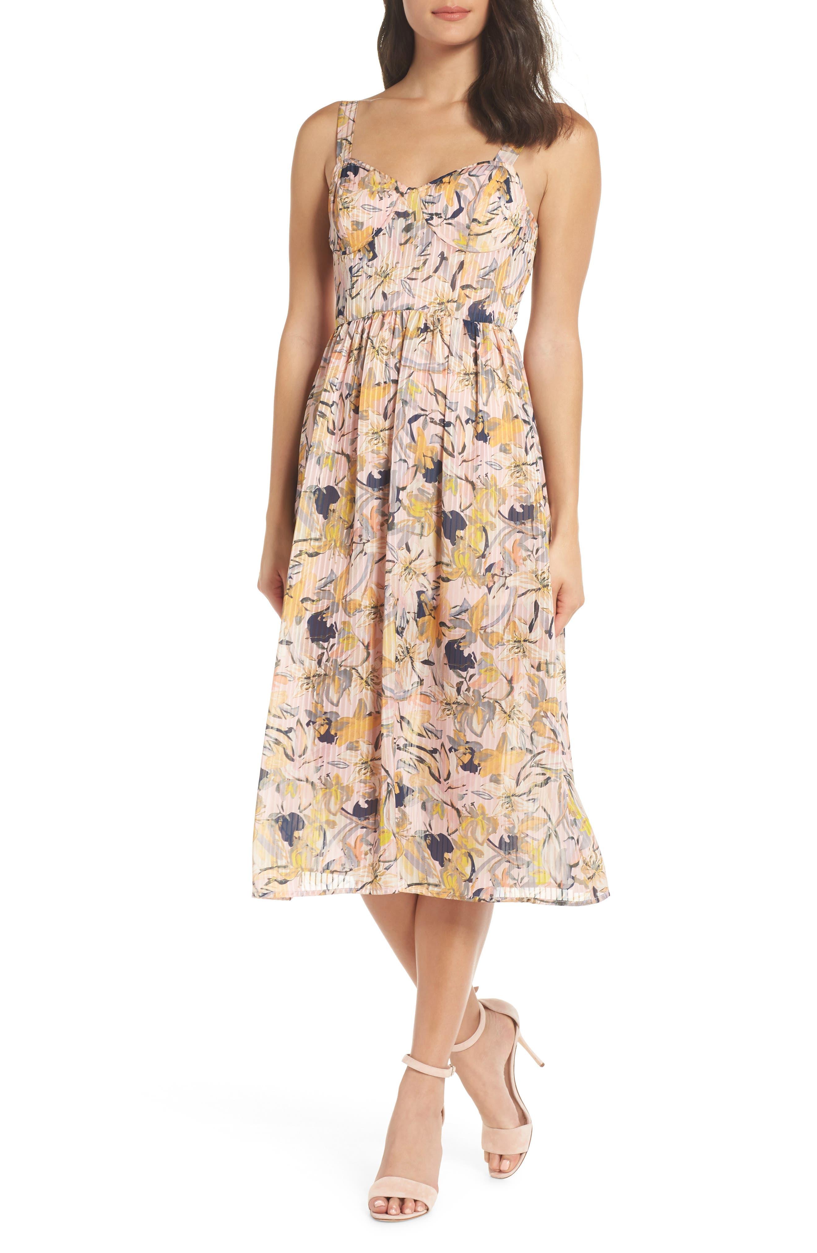 Marie Floral Bustier Midi Dress,                             Main thumbnail 1, color,                             650