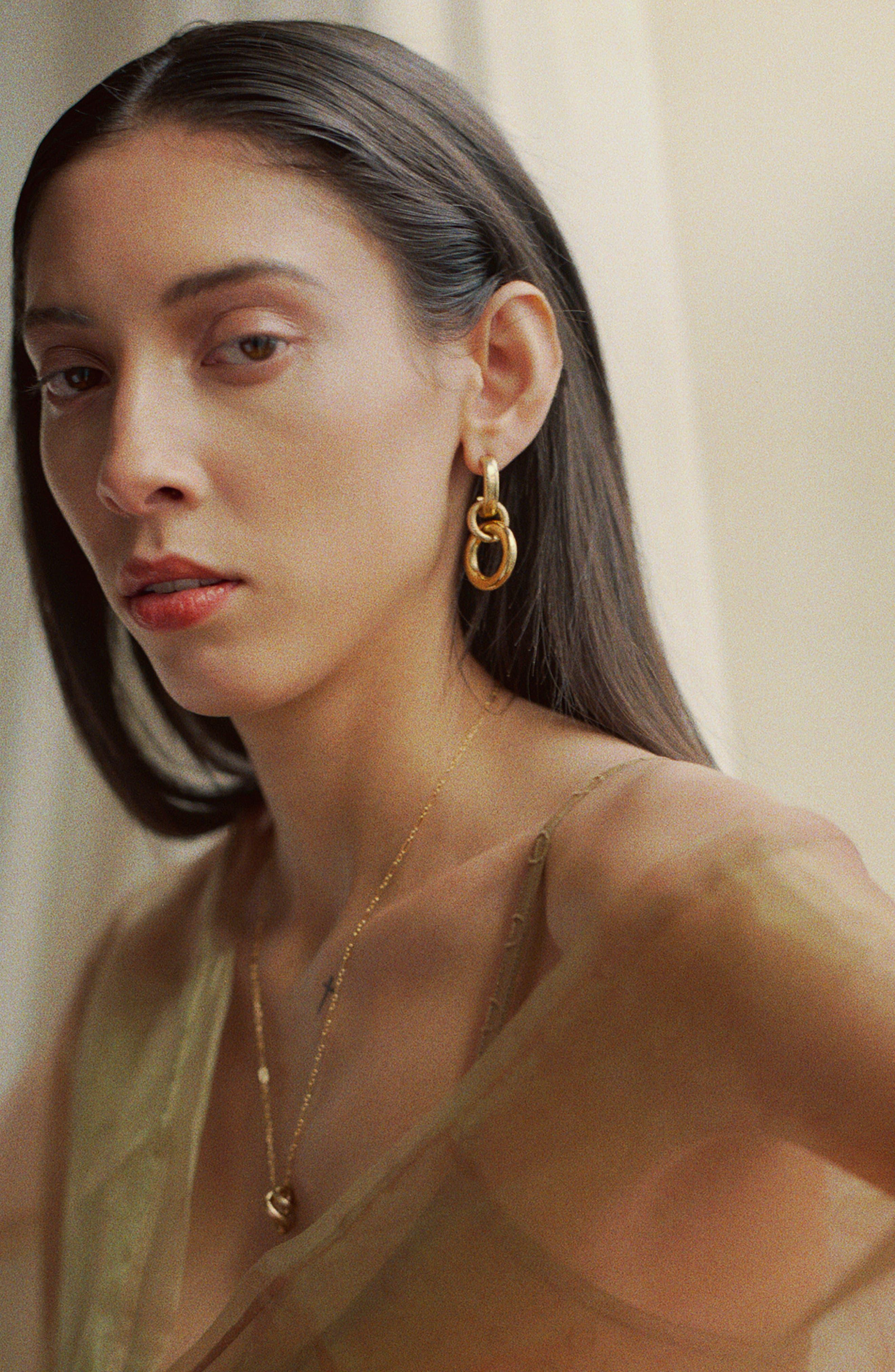 Tira Earrings,                             Alternate thumbnail 2, color,                             BRASS