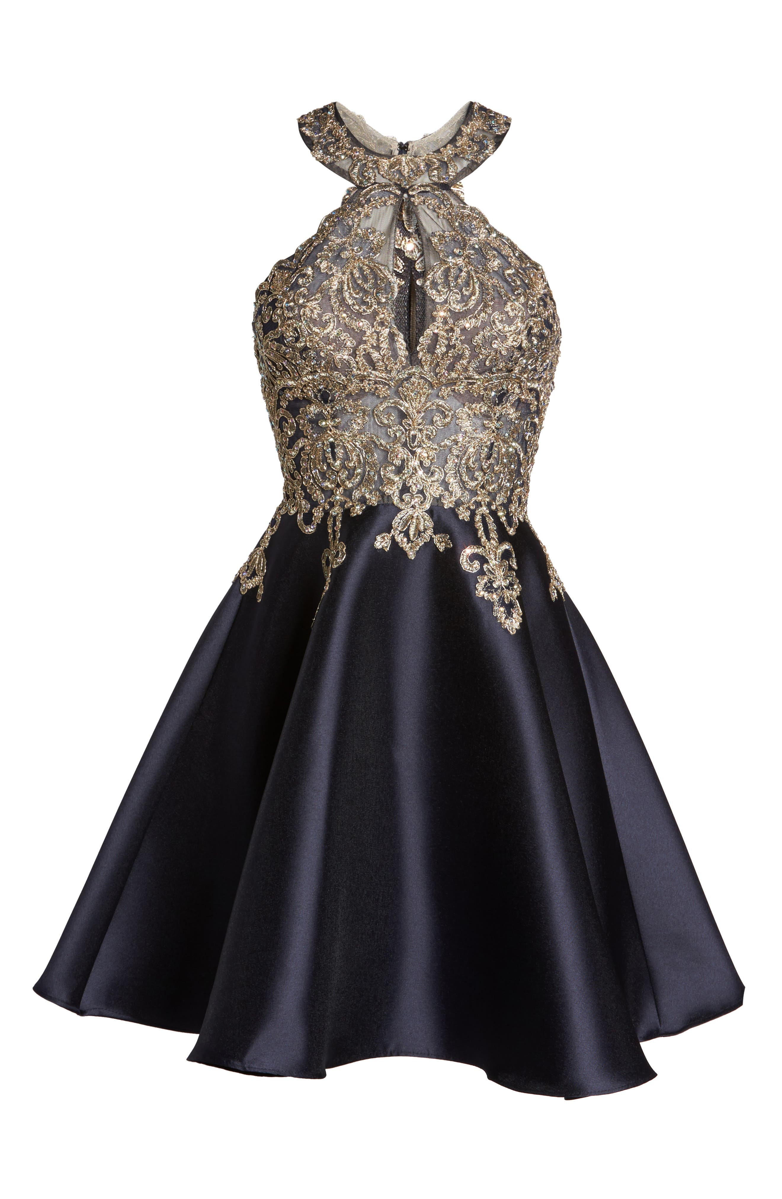 XSCAPE,                             Embellished Embroidered Mikado Party Dress,                             Alternate thumbnail 6, color,                             409