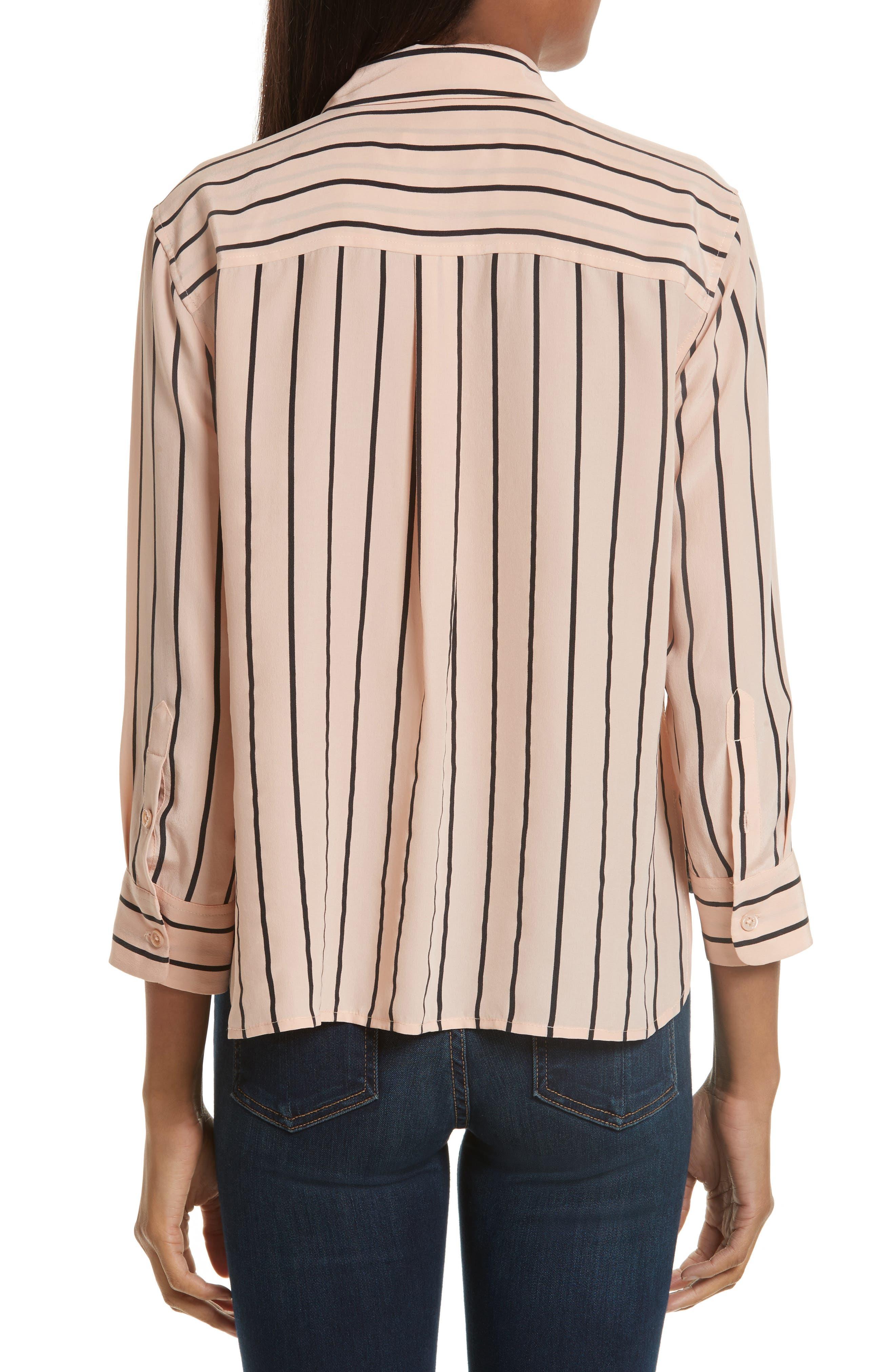 Signature Crop Stripe Silk Shirt,                             Alternate thumbnail 2, color,                             282