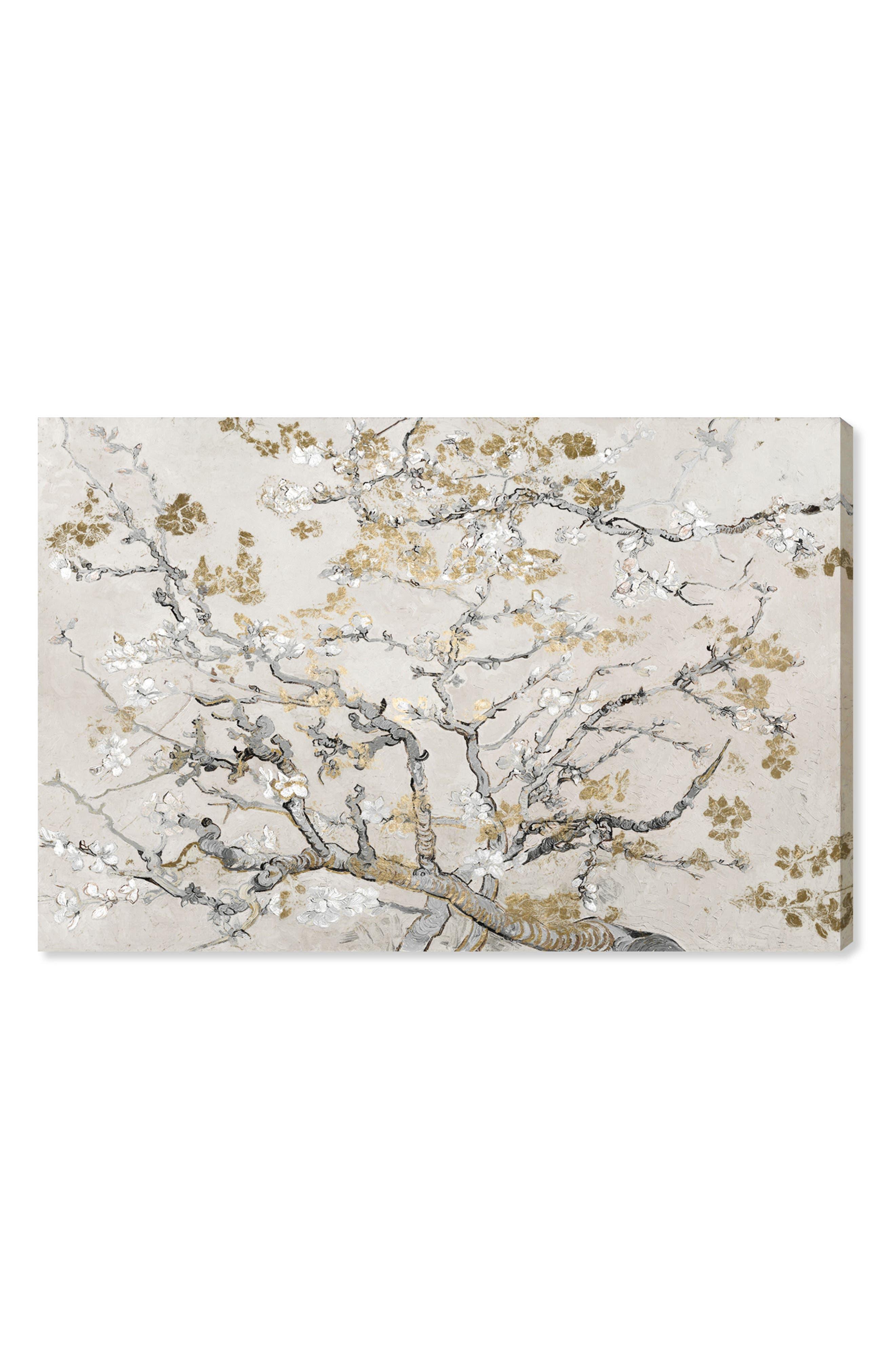 Gold Blossoms Canvas Wall Art,                             Main thumbnail 1, color,                             BEIGE