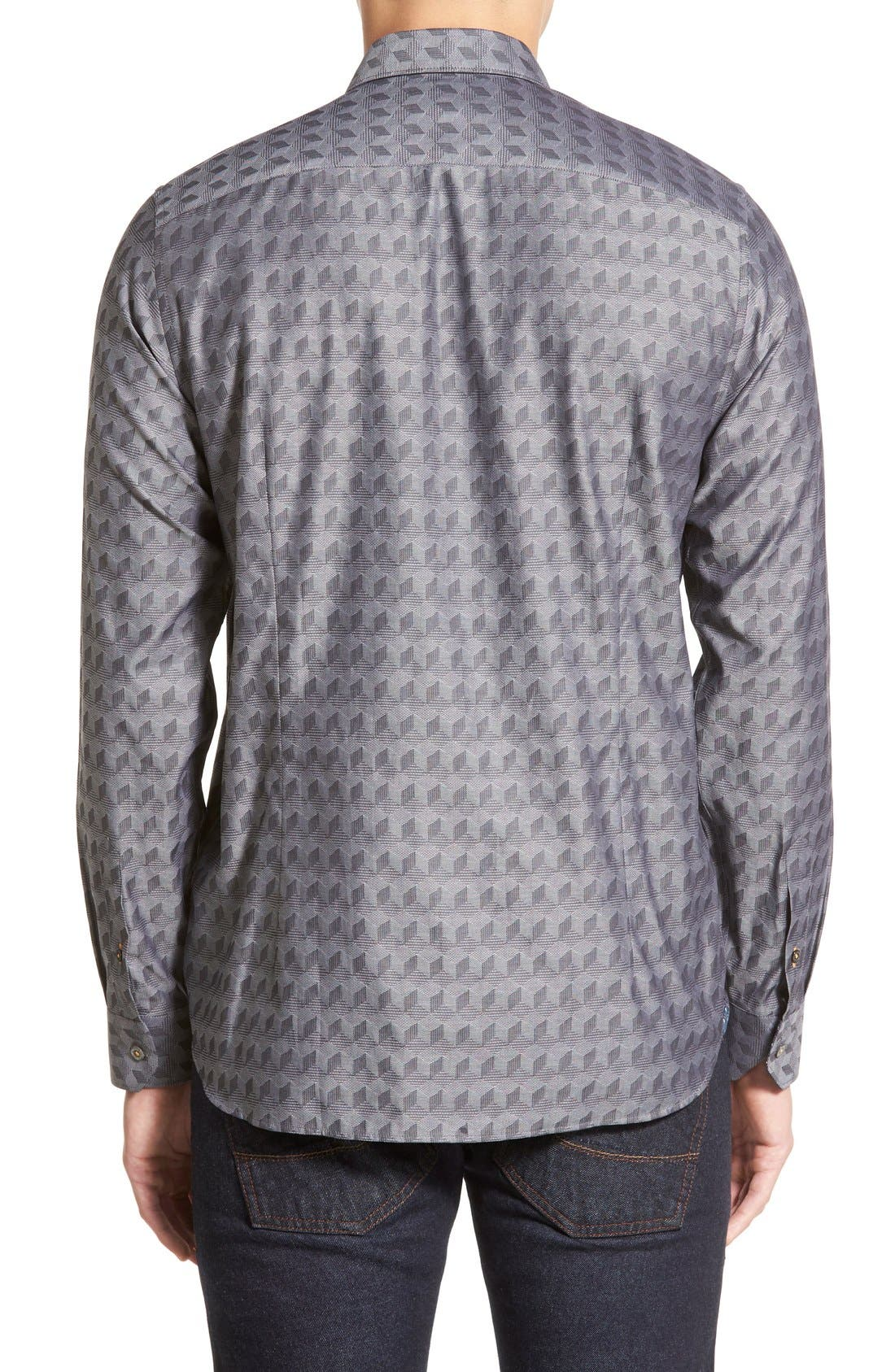 'Chaymo' Modern Slim Fit Geometric Chambray Sport Shirt,                             Alternate thumbnail 5, color,                             001
