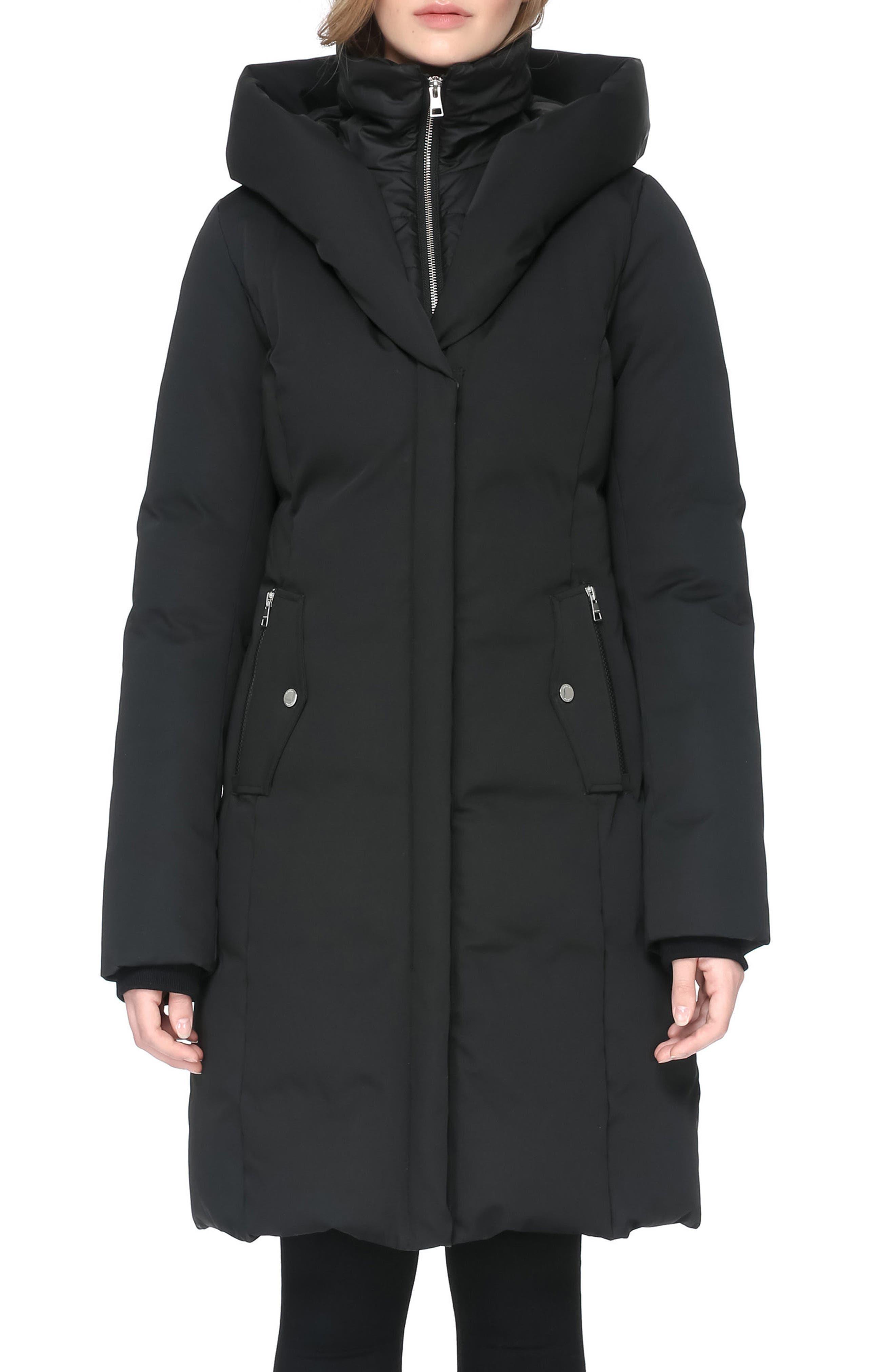 Hooded Down Coat,                             Alternate thumbnail 4, color,                             001
