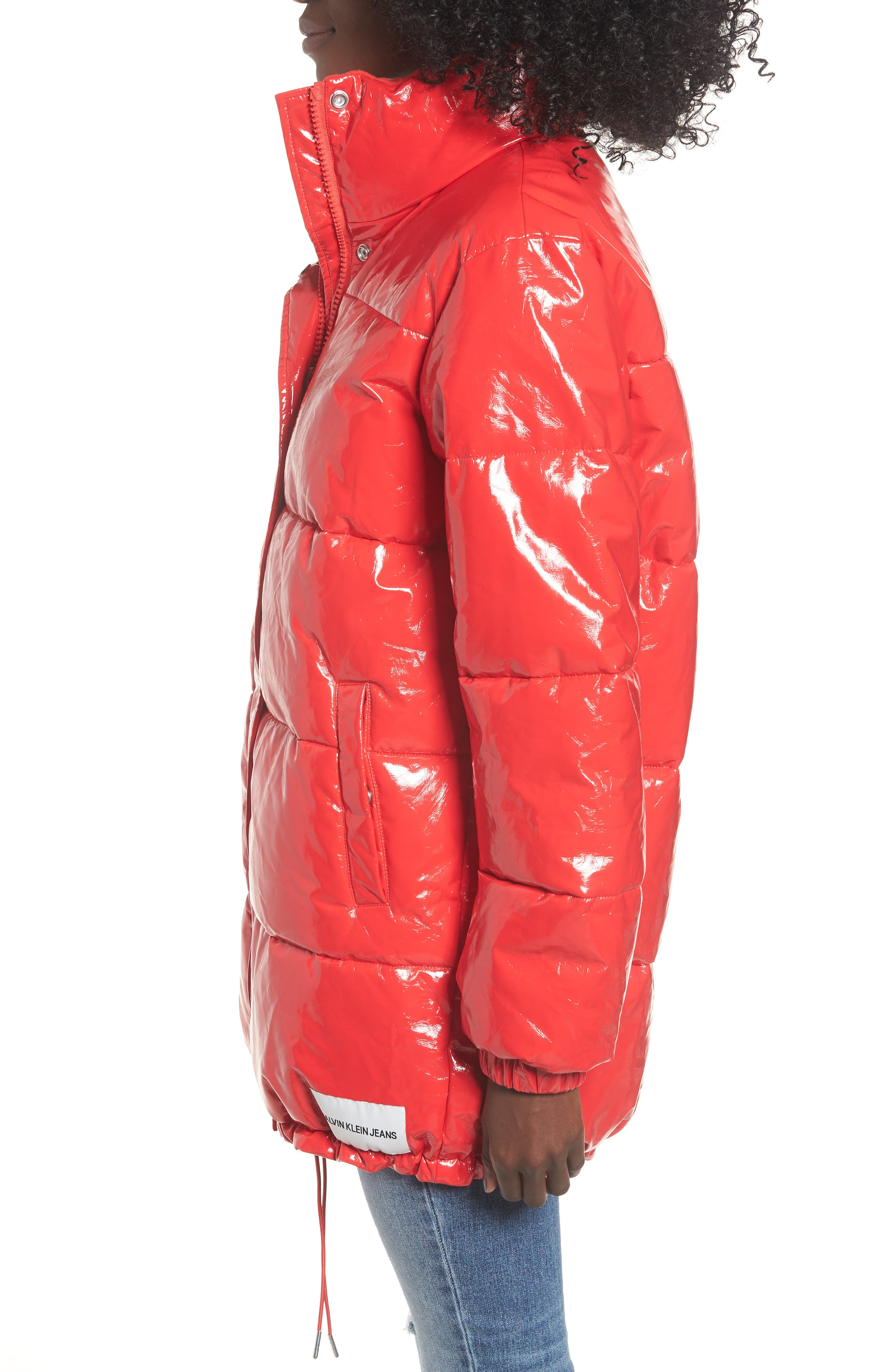 Glossy Puffer Jacket,                             Alternate thumbnail 3, color,                             TOMATO