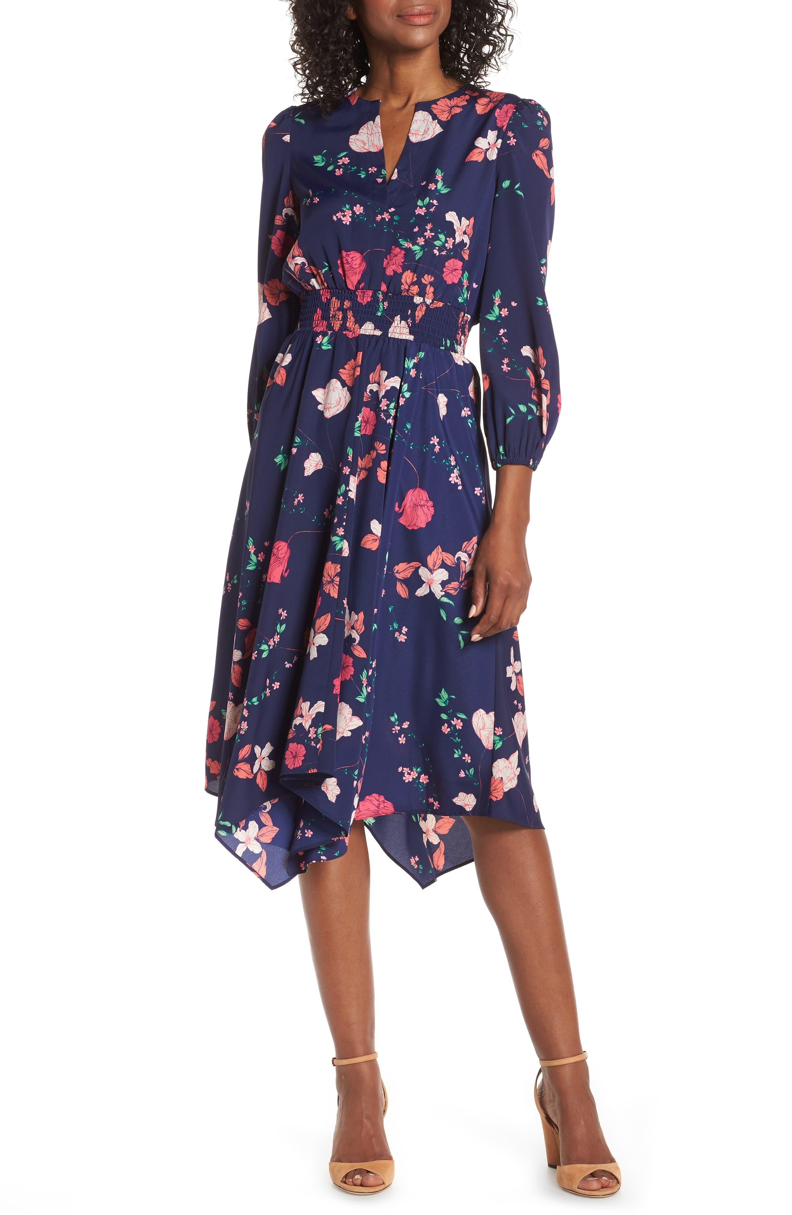Eliza J Poet Sleeve Smock Waist Dress, Blue