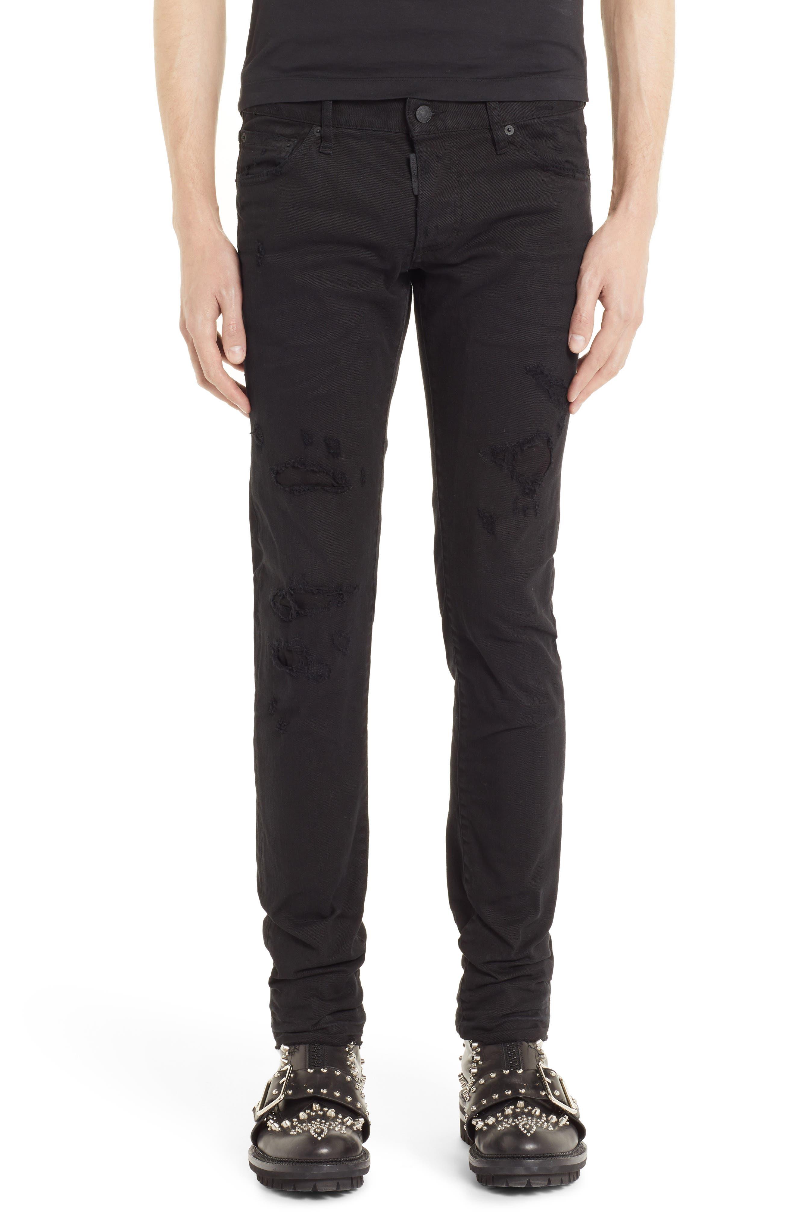 Destroyed Slim Fit Jeans,                         Main,                         color, BLACK