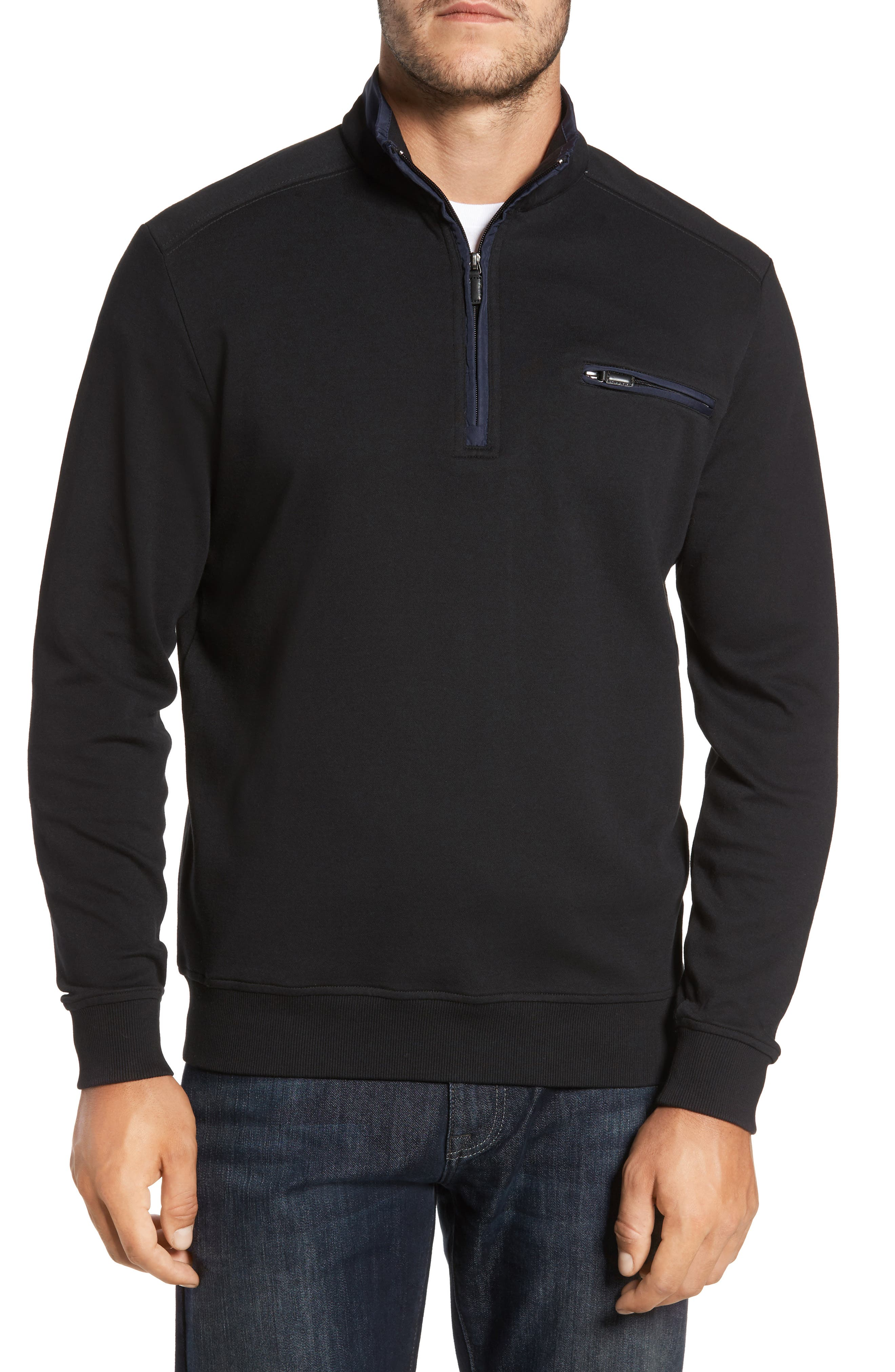 Classic Fit Solid Quarter Zip Pullover,                             Main thumbnail 1, color,