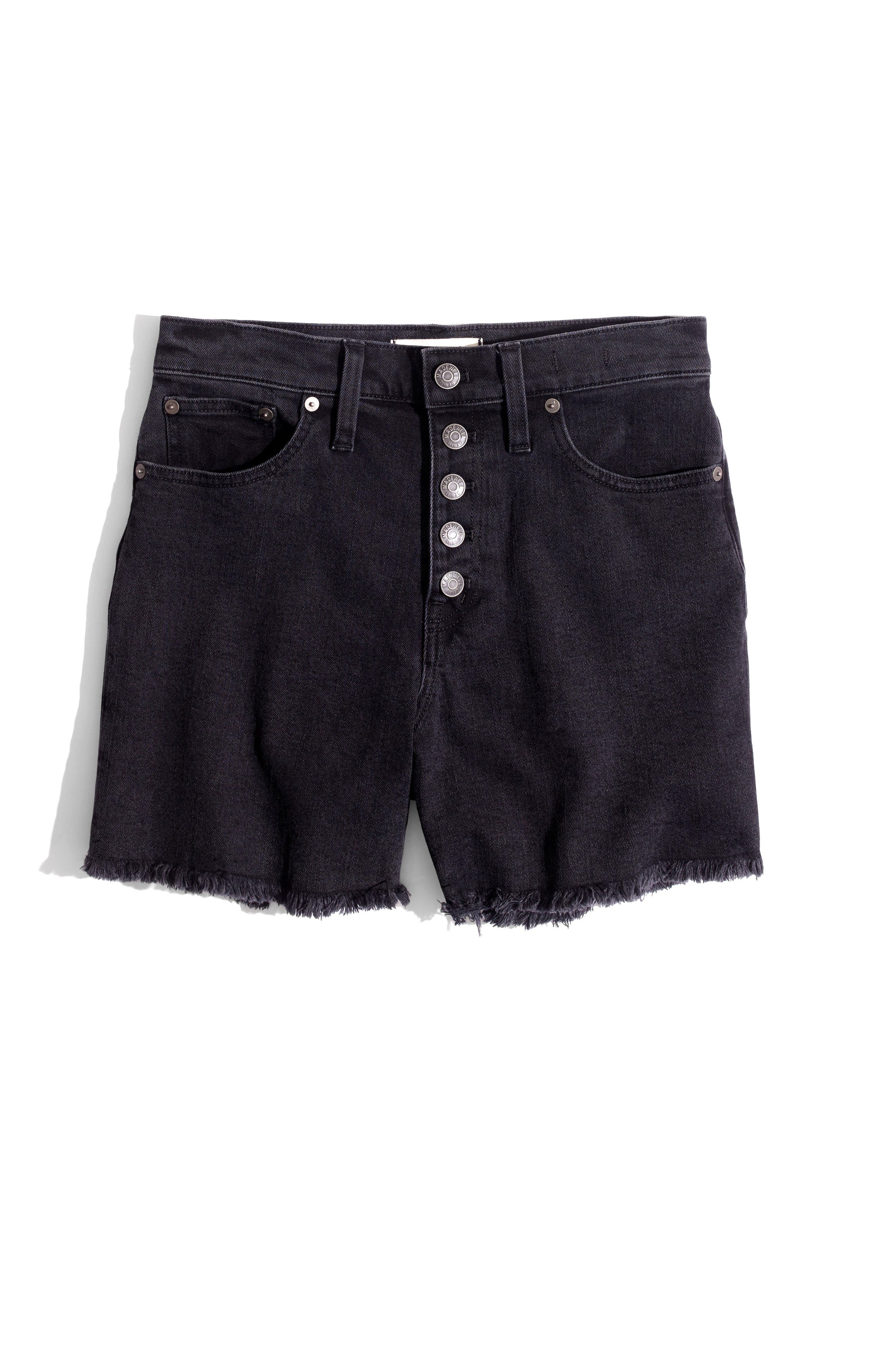 High Rise Denim Shorts,                             Alternate thumbnail 4, color,                             001
