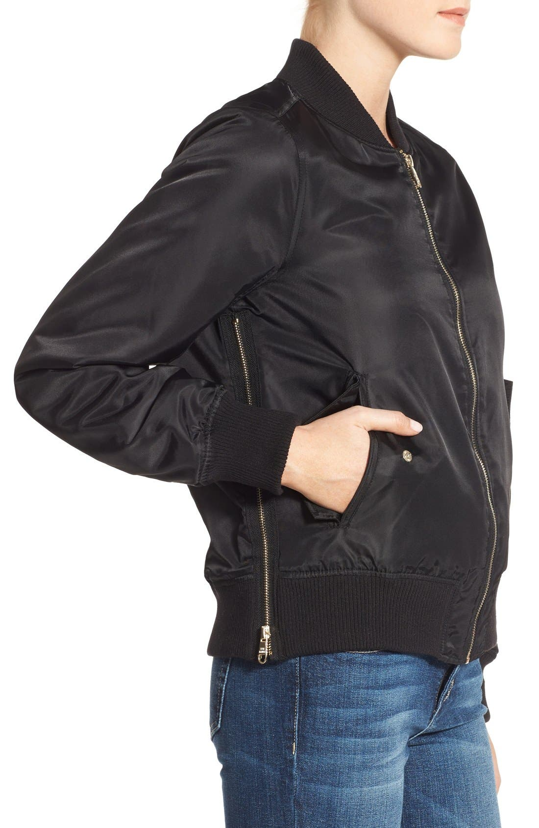 Side Zip Bomber Jacket,                             Alternate thumbnail 3, color,                             001
