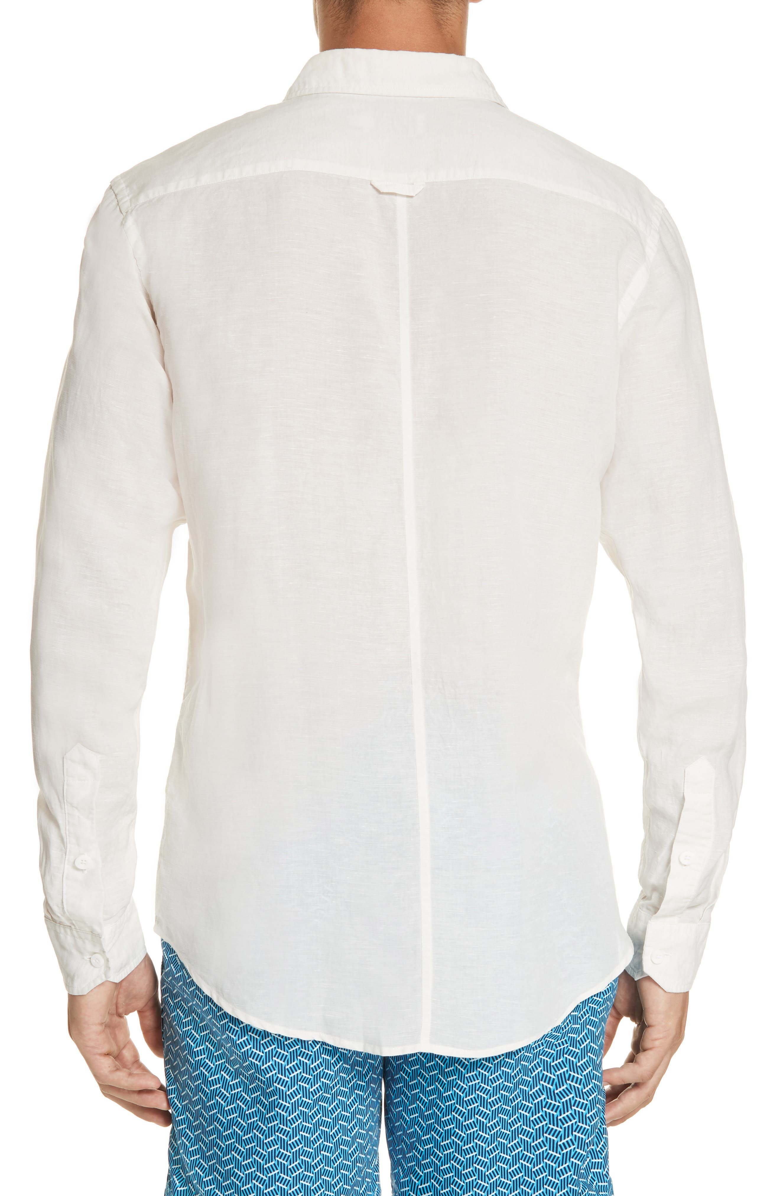 Abe Linen Blend Shirt,                             Alternate thumbnail 3, color,                             WHITE