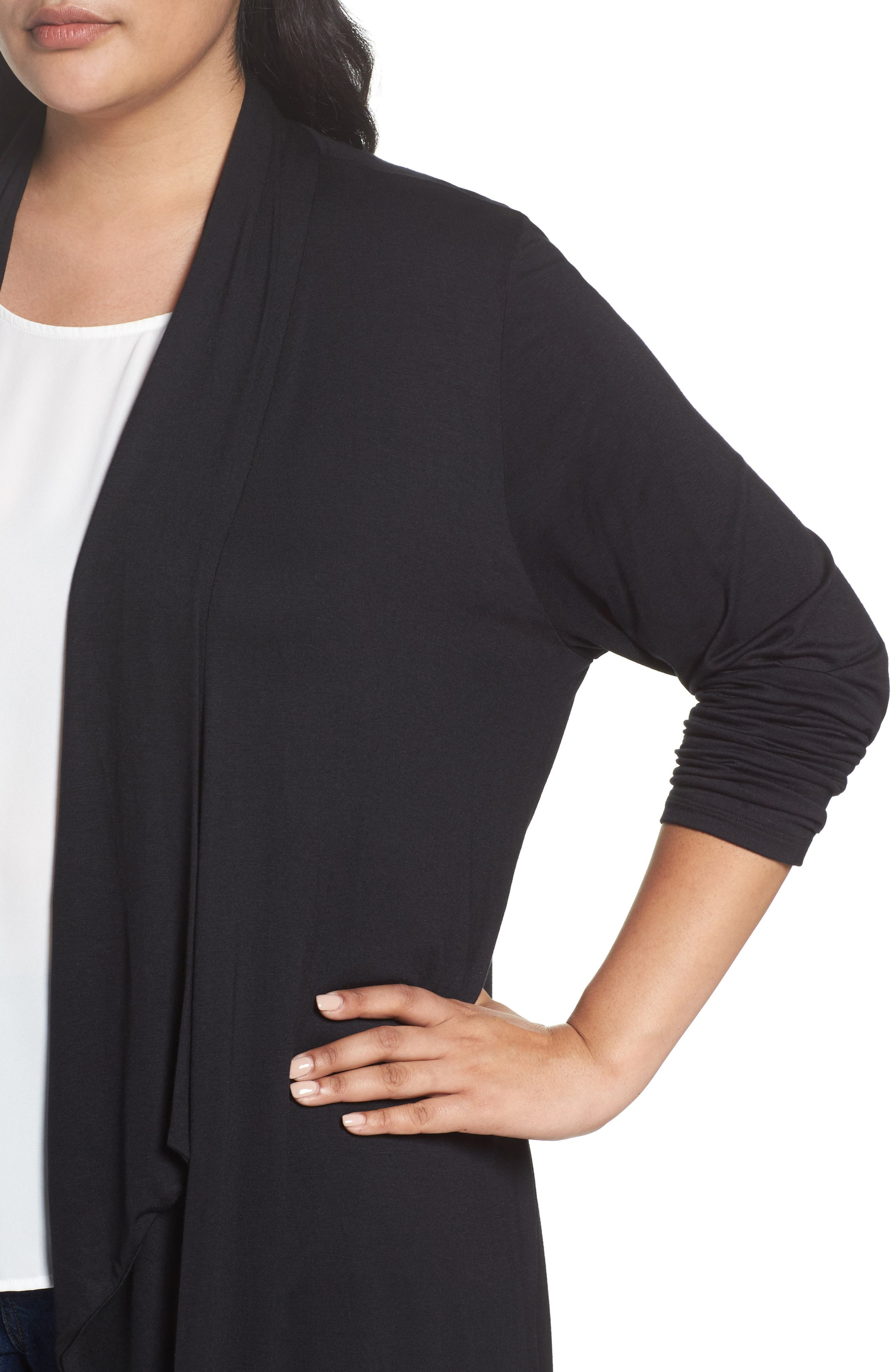 Waterfall Drape Front Cardigan,                             Alternate thumbnail 4, color,                             BLACK