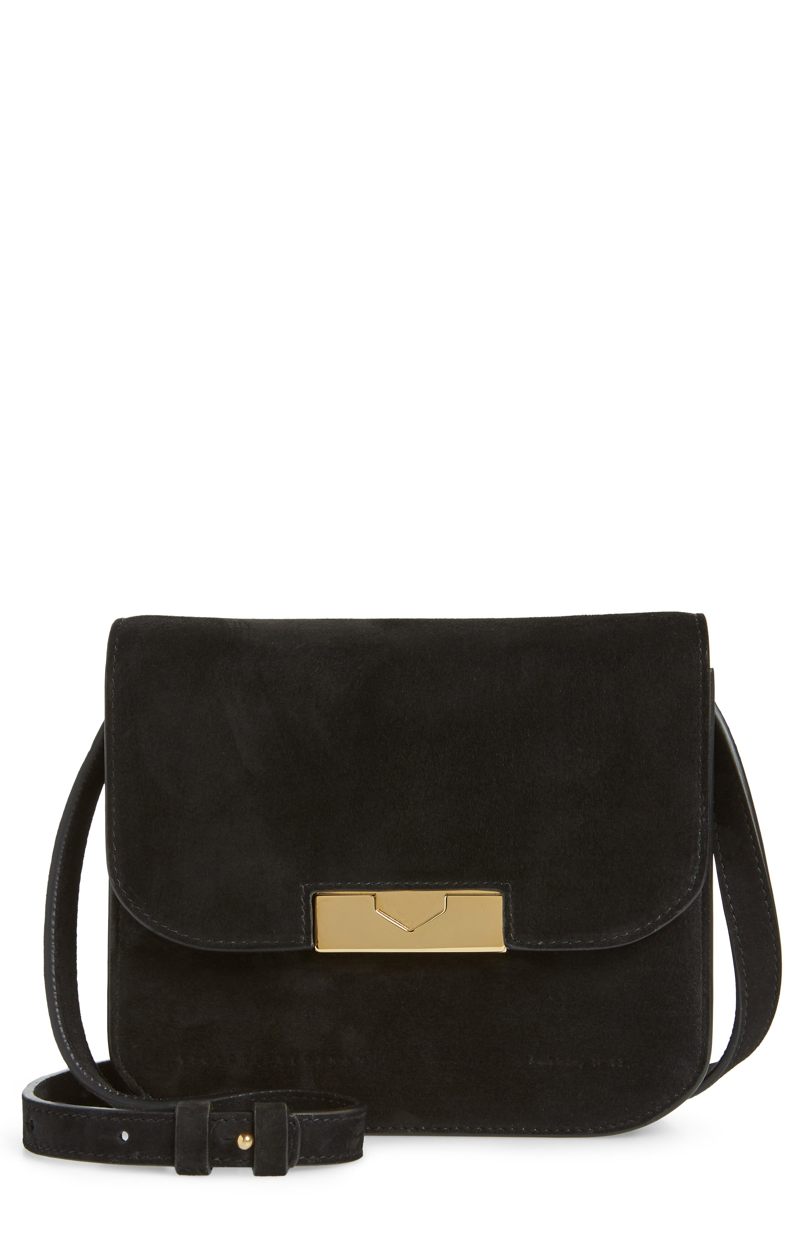 Eva Calfskin Suede Shoulder Bag - Black