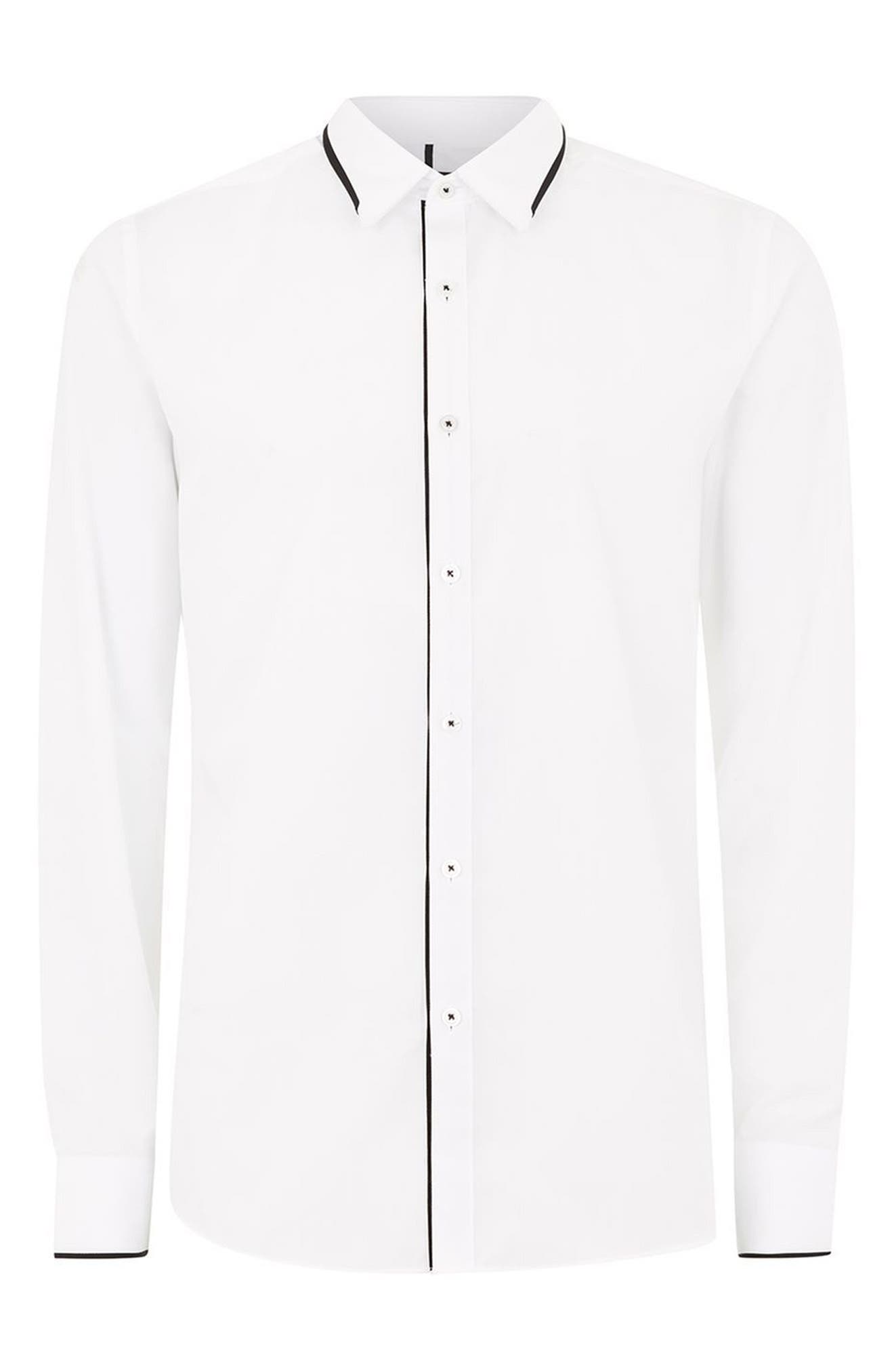 Smart Skinny Fit Dress Shirt,                             Alternate thumbnail 4, color,                             WHITE