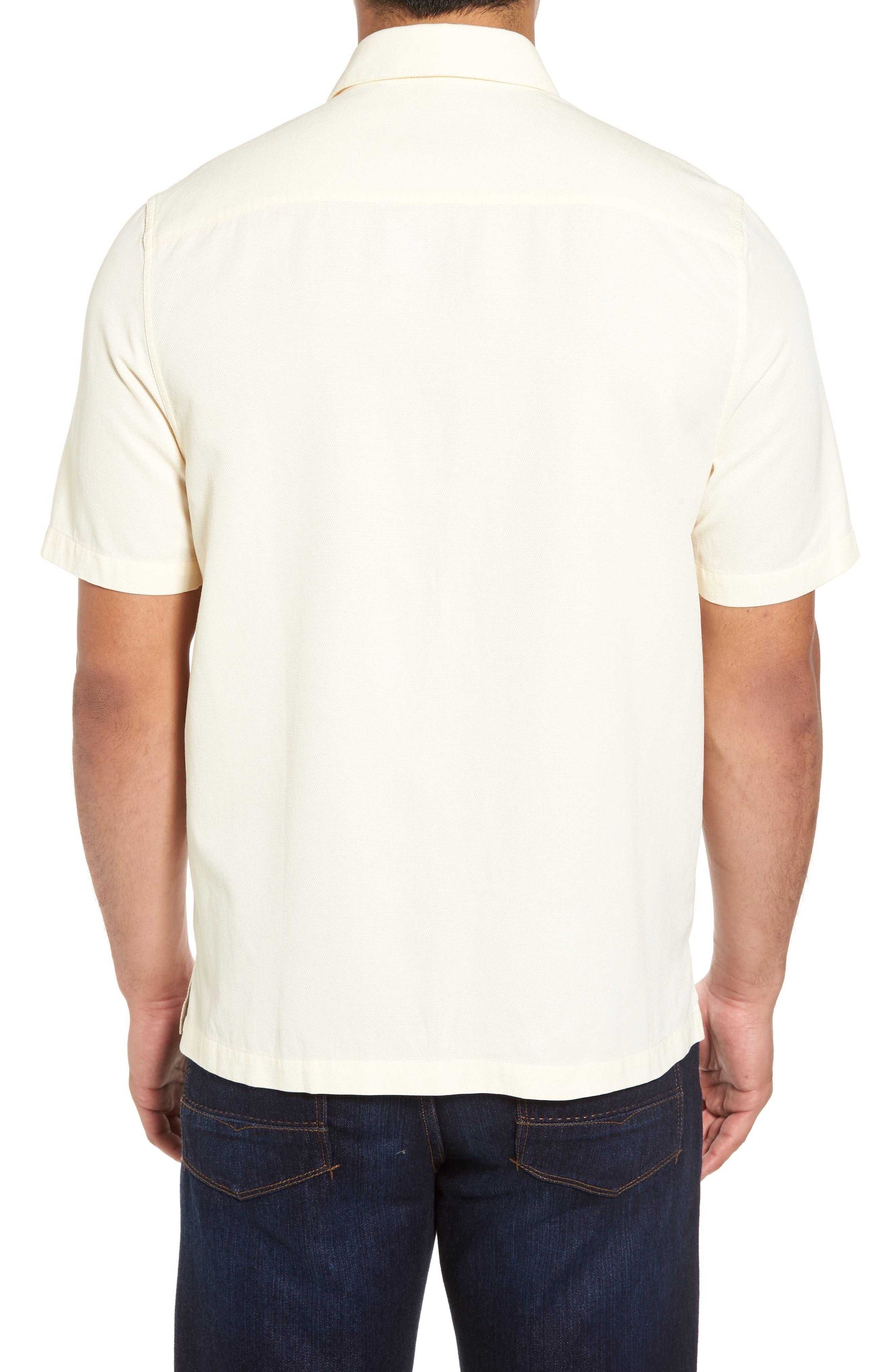 'Havana Cloth' Regular Fit Short Sleeve Silk & Cotton Sport Shirt,                             Alternate thumbnail 2, color,                             100