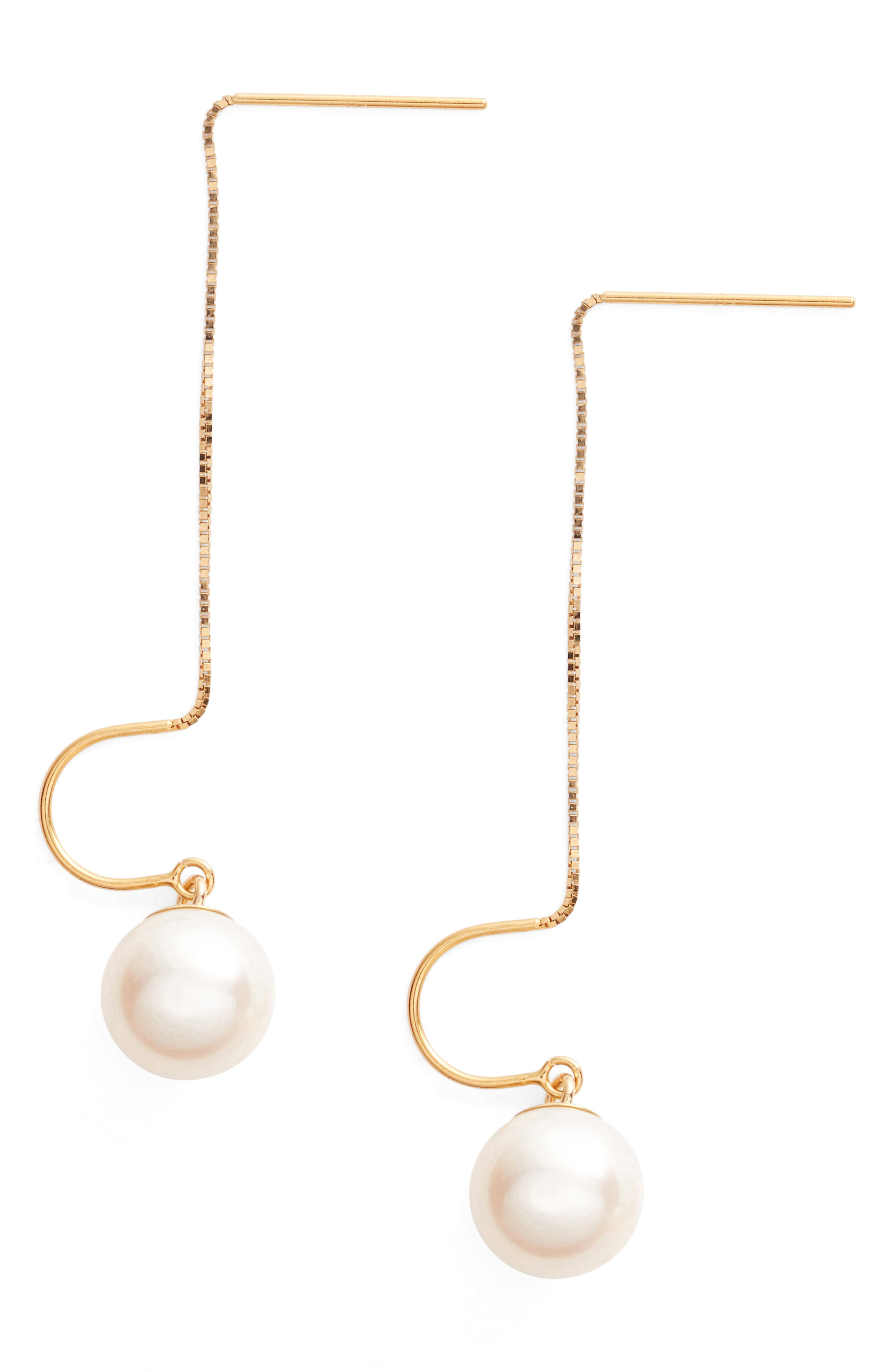 Pearl Threader Earrings,                         Main,                         color, YELLOW GOLD/ WHITE PEARL