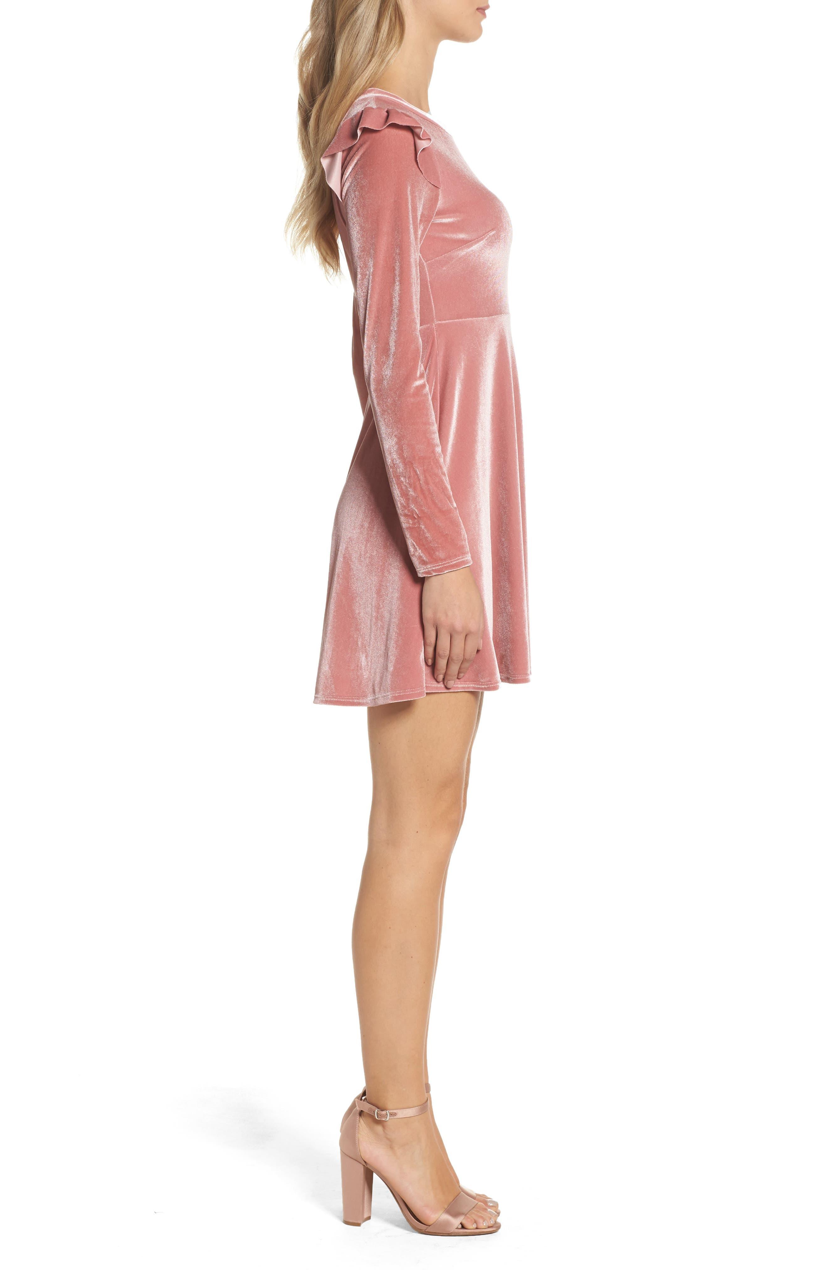 Velvet Fit & Flare Dress,                             Alternate thumbnail 6, color,