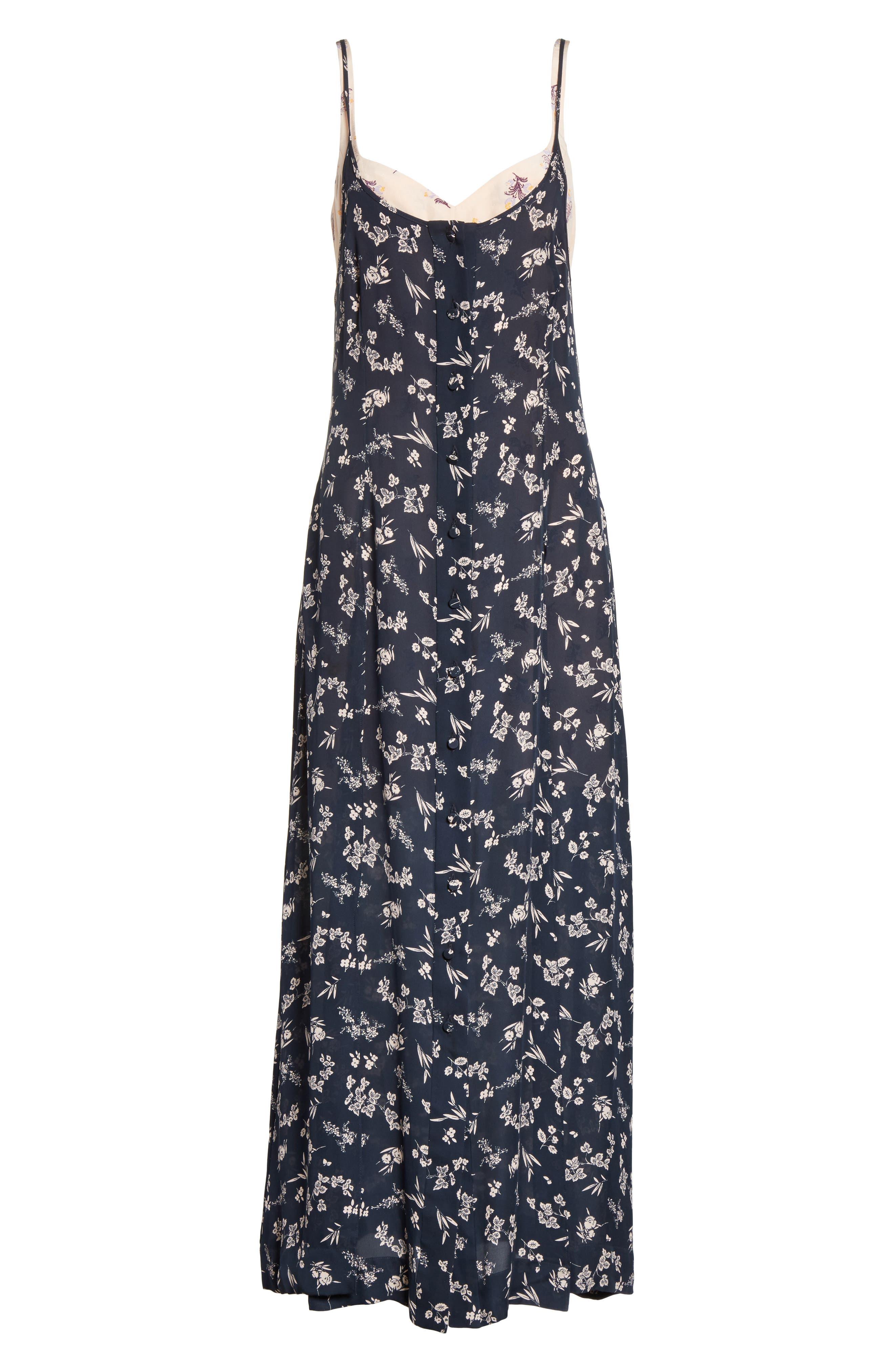 Jocelyn Floral Print Layered Silk Dress,                             Alternate thumbnail 6, color,                             499