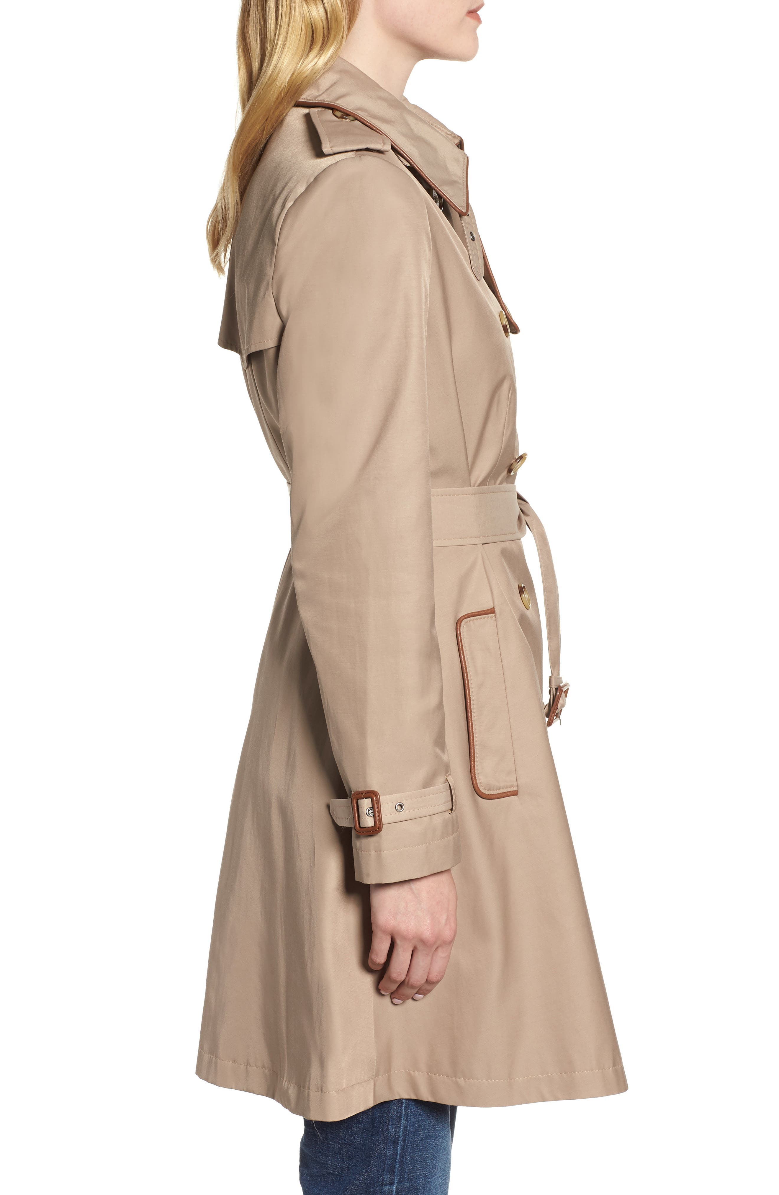 Faux Leather Trim Trench Coat,                             Alternate thumbnail 3, color,                             262