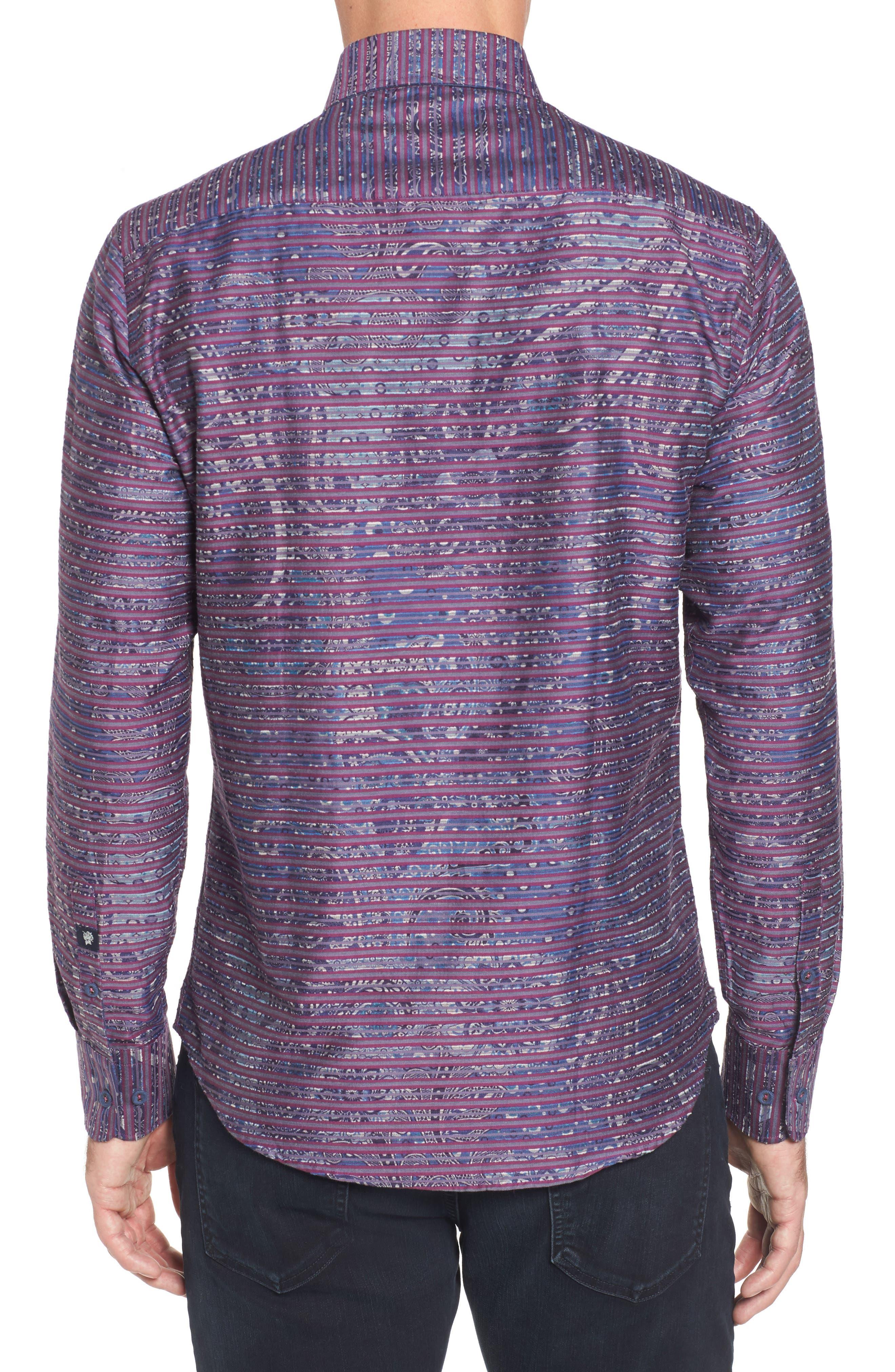 Regular Fit Stripe Paisley Sport Shirt,                             Alternate thumbnail 2, color,                             645