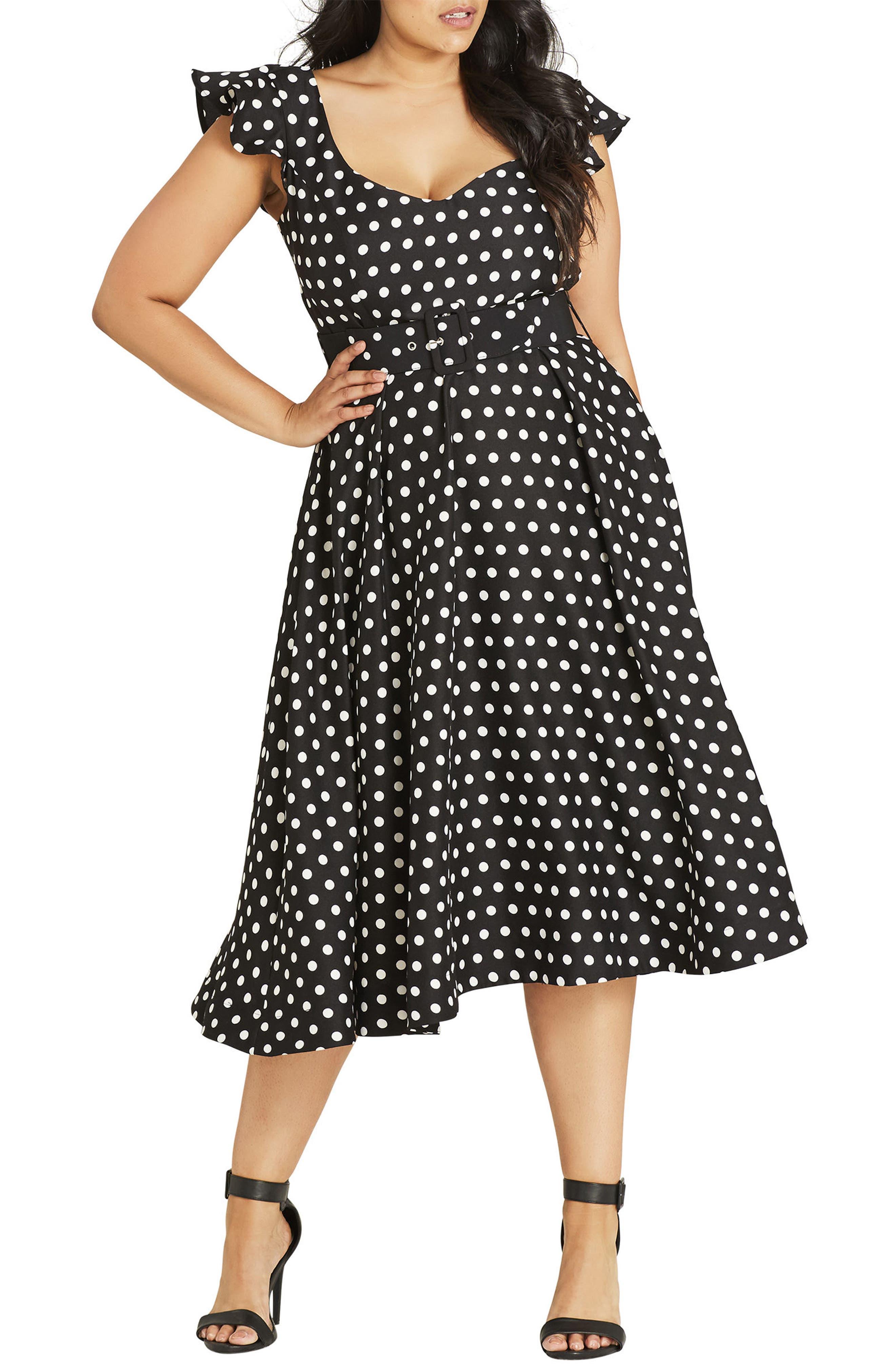 Flutter Spot Belted Dress,                         Main,                         color, BLACK SPOT